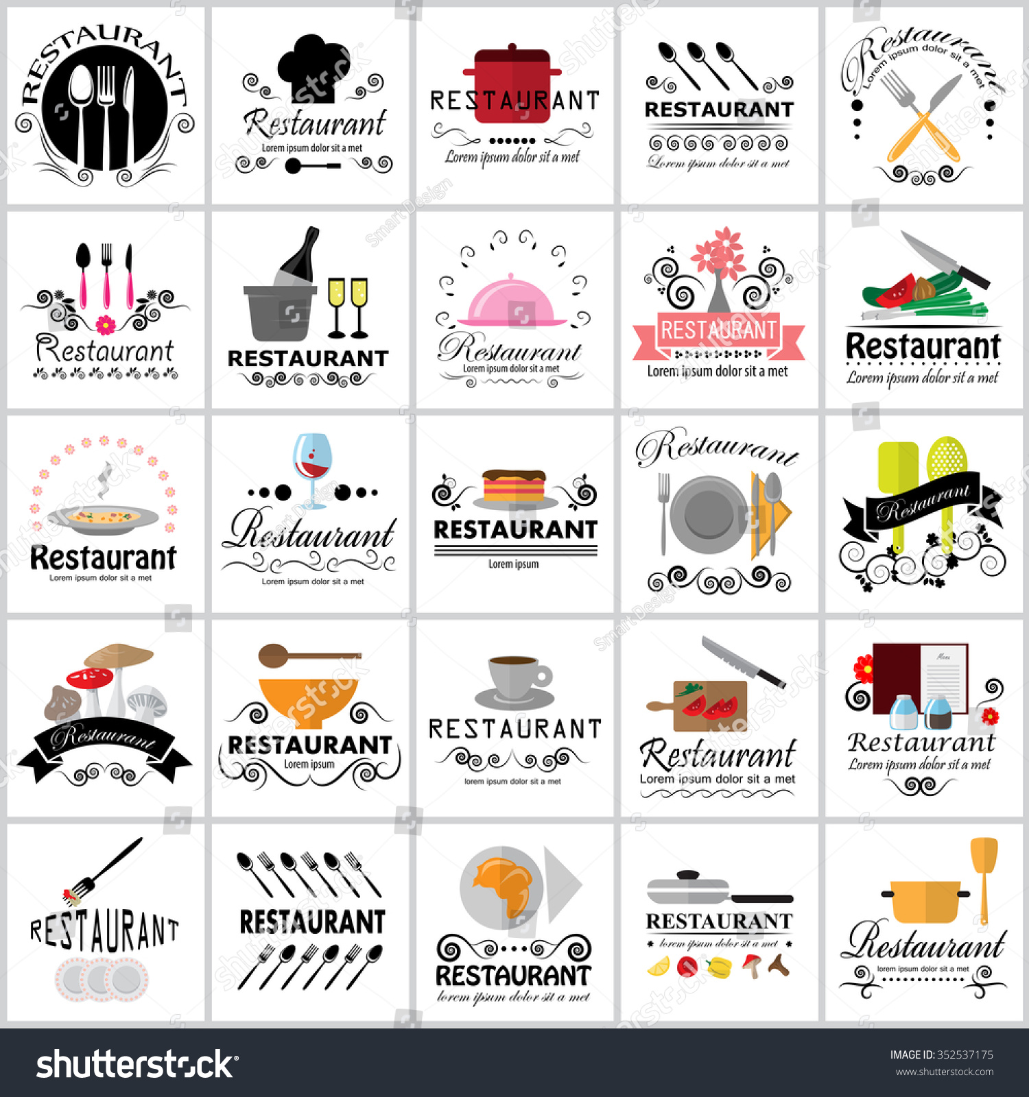 universal laser printer labels template - restaurant icons set vector illustration graphic stock