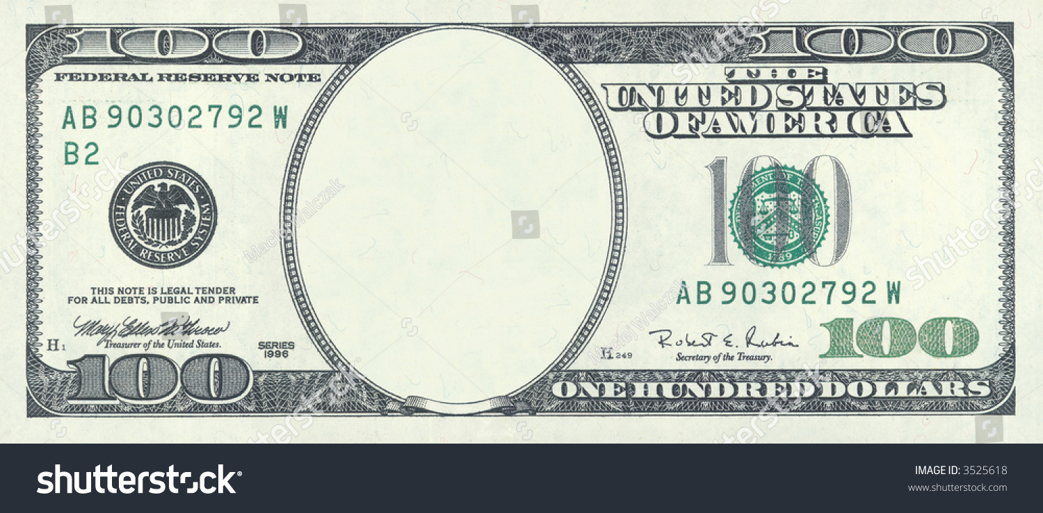 Blank Hundred Dollar Bill With Clipping Stock Photo (Royalty Free ...
