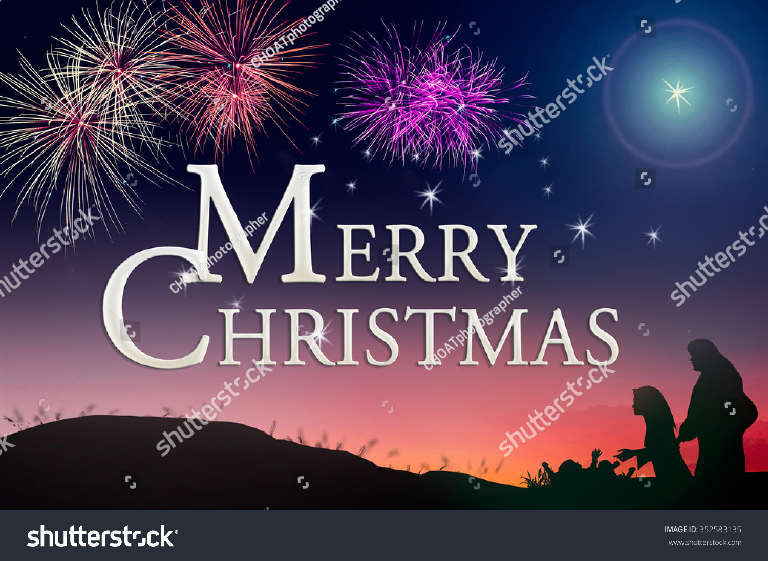religious christmas of christianity concept text for merry christmas over colorful night with - Religious Merry Christmas
