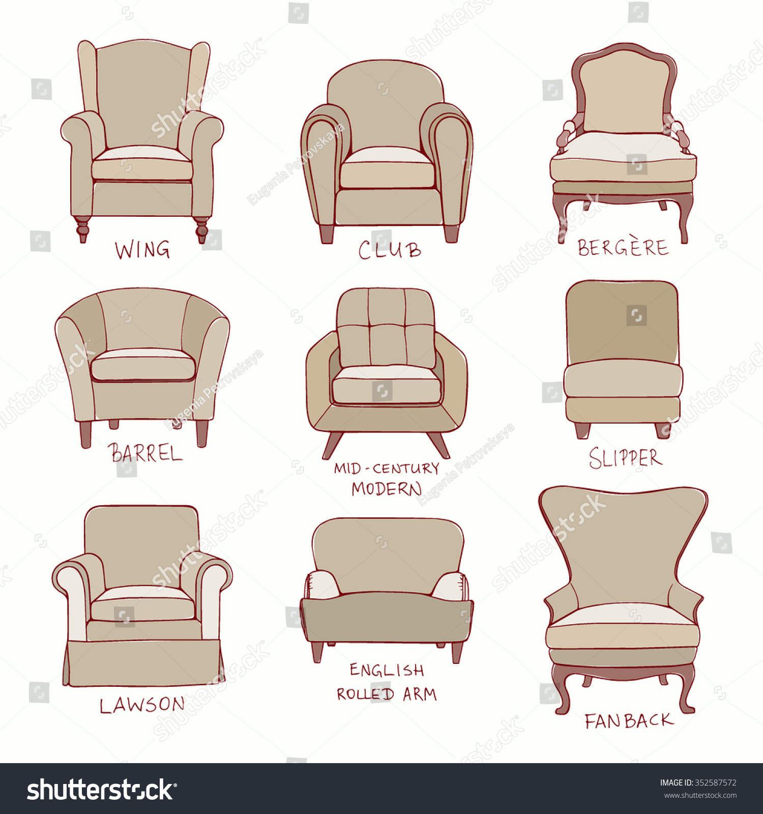 Vector Visual Guide Accent Chair Design Stock Vector