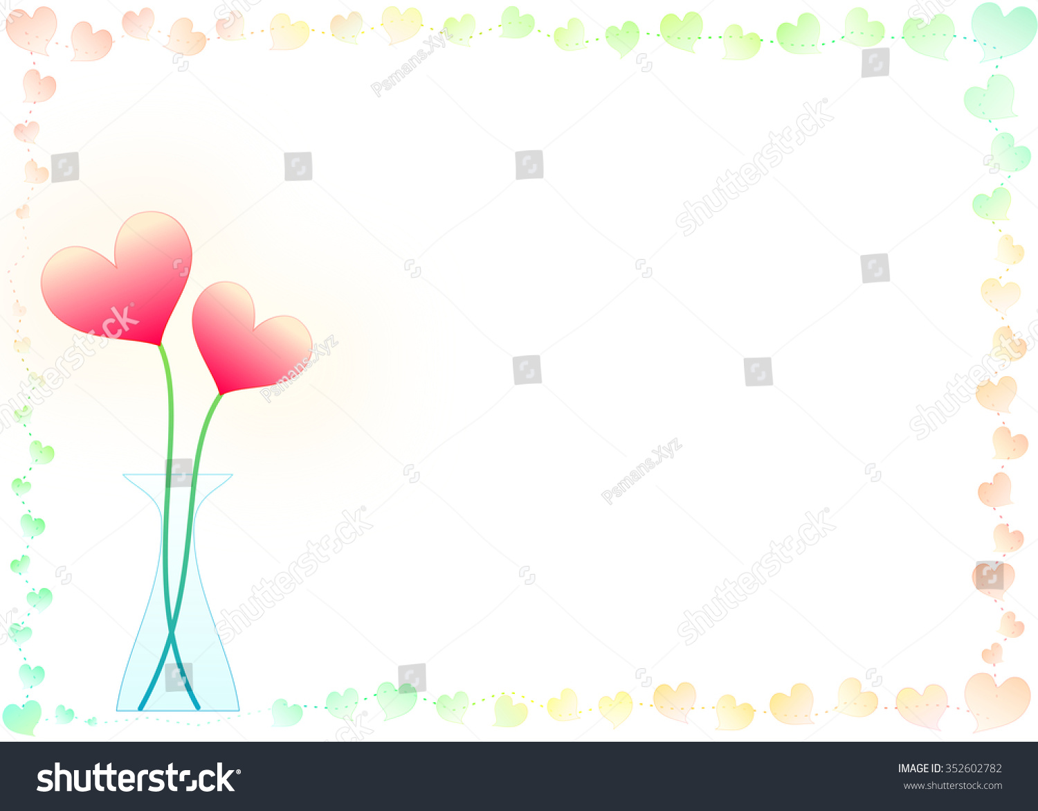 Heart shaped flowers glass vase sweet stock illustration 352602782 heart shaped flowers in the glass vase with sweet color hearts border and frame wallpaper illustration reviewsmspy