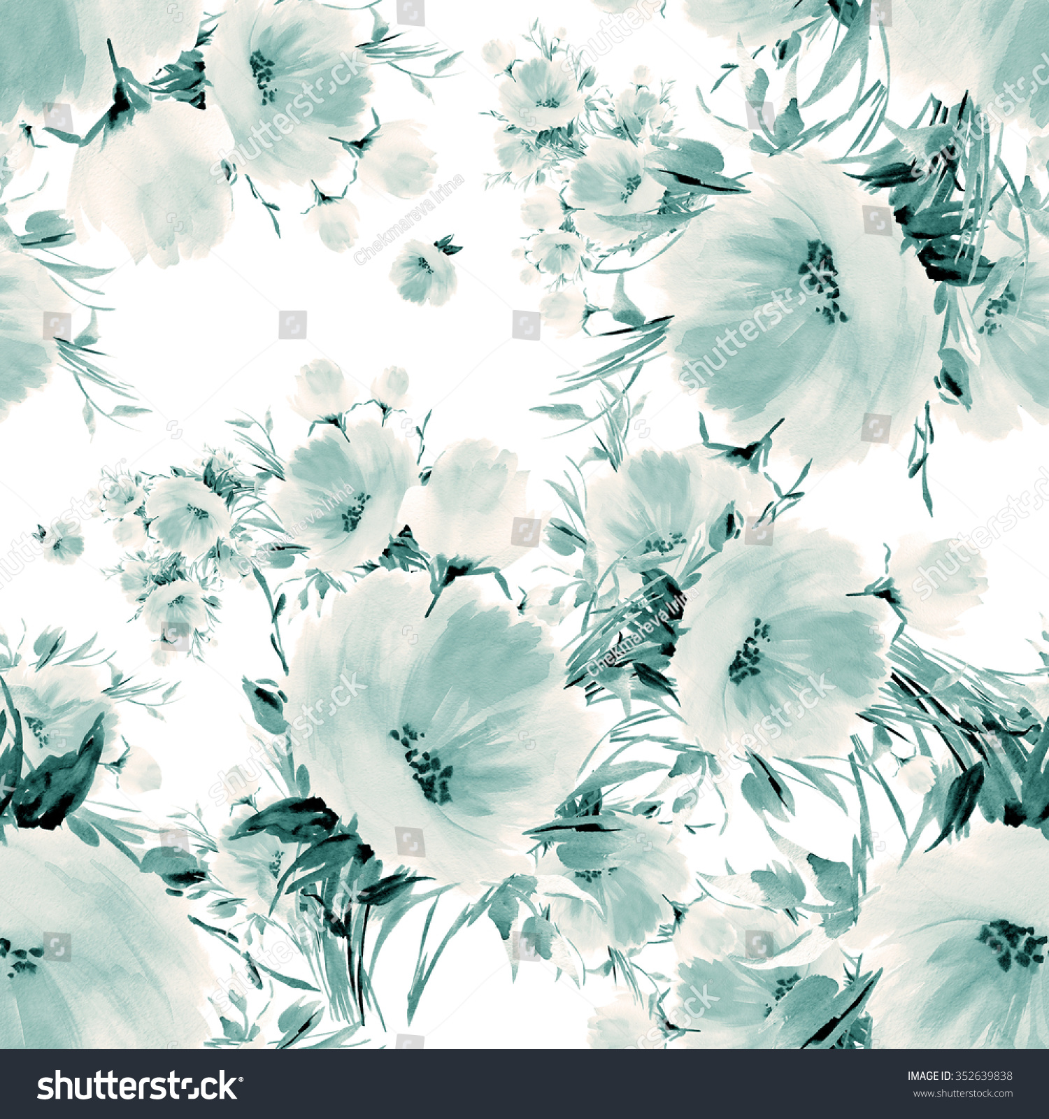 Seamless Pattern Watercolor Flowers P Vintage Retro Effect Pastel Background Beautiful Wallpapers
