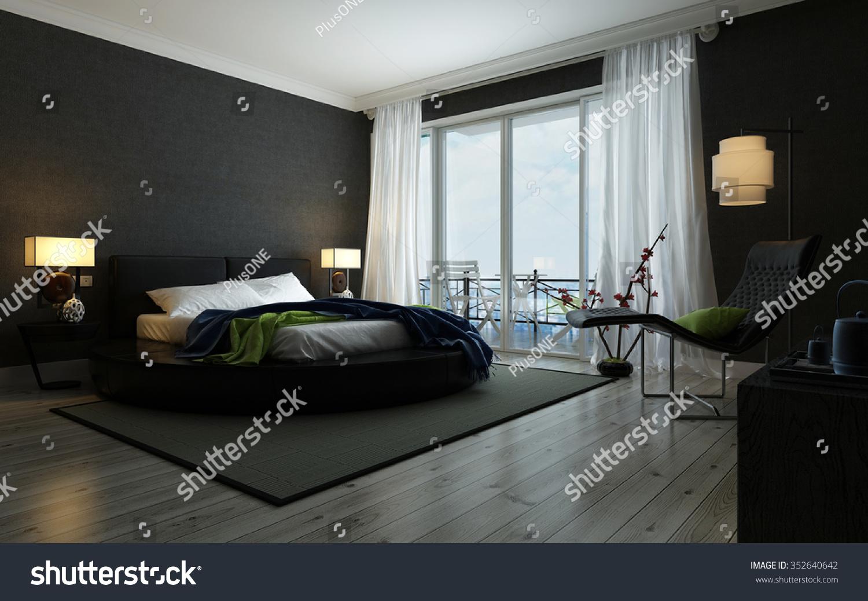 Modern Black White Bedroom Interior Illuminated Stock Illustration 352640642,Graphic Design Industry