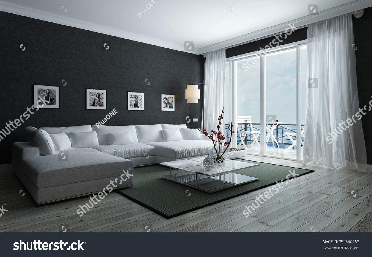contemporary black white living room stylish stock illustration
