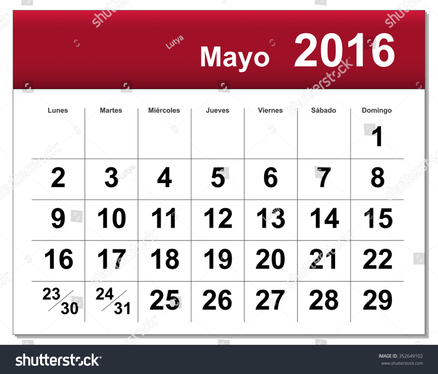 May Spanish Calendar : Eps file spanish version of may calendar the