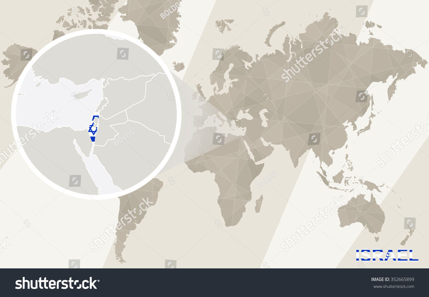 Zoom On Israel Map Flag World Stock Illustration - Royalty Free ...