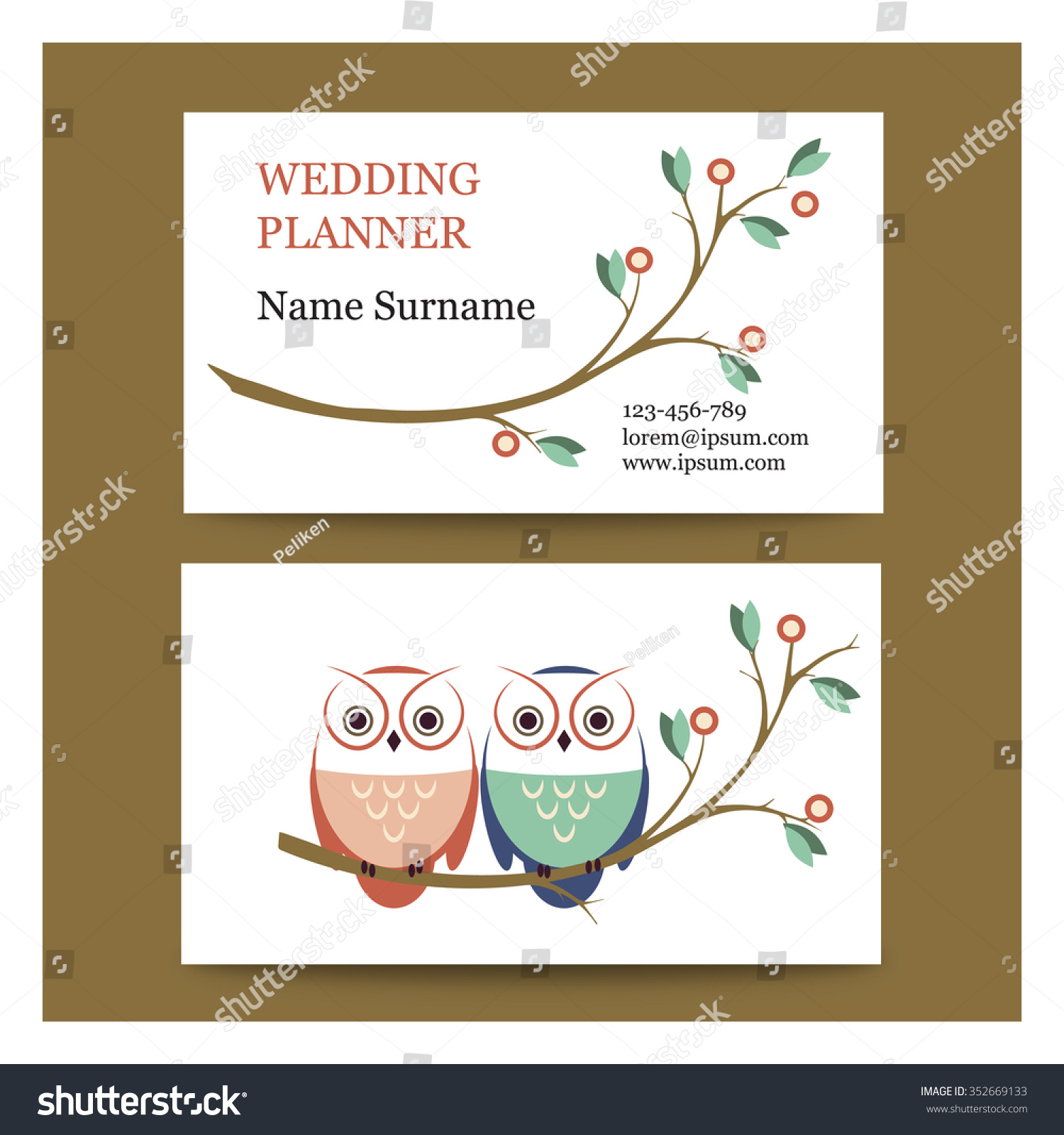 Template Cute Business Cards Pair Owls Stock Vector 352669133 ...