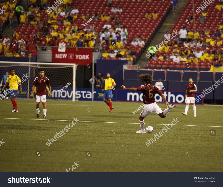 9121585cebd EAST RUTHERFORD NJ - AUGUST 12  Oswaldo Vizcarrondo  6 of Venezuela handles  the ball