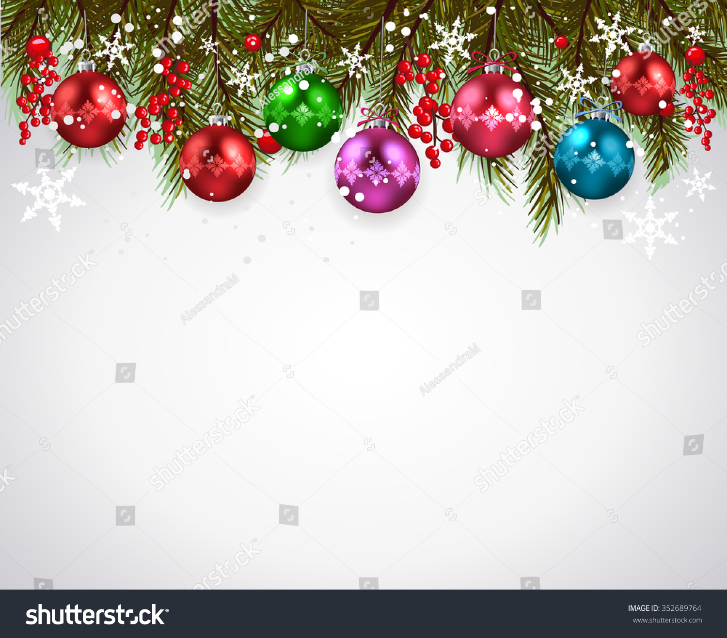 Christmas background-Realistic frame with fir and Christmas balls