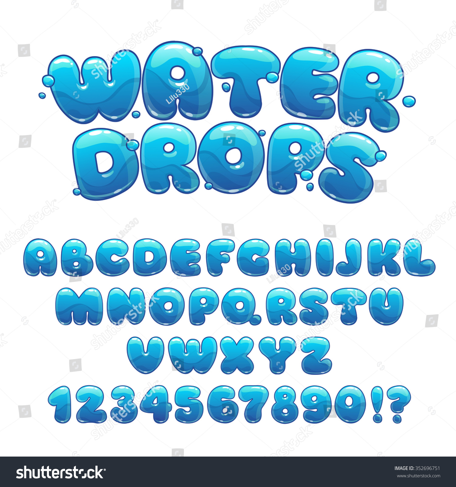 Water Funny Pictures Stock Vector Cartoon Water Drops Font Funny Blue