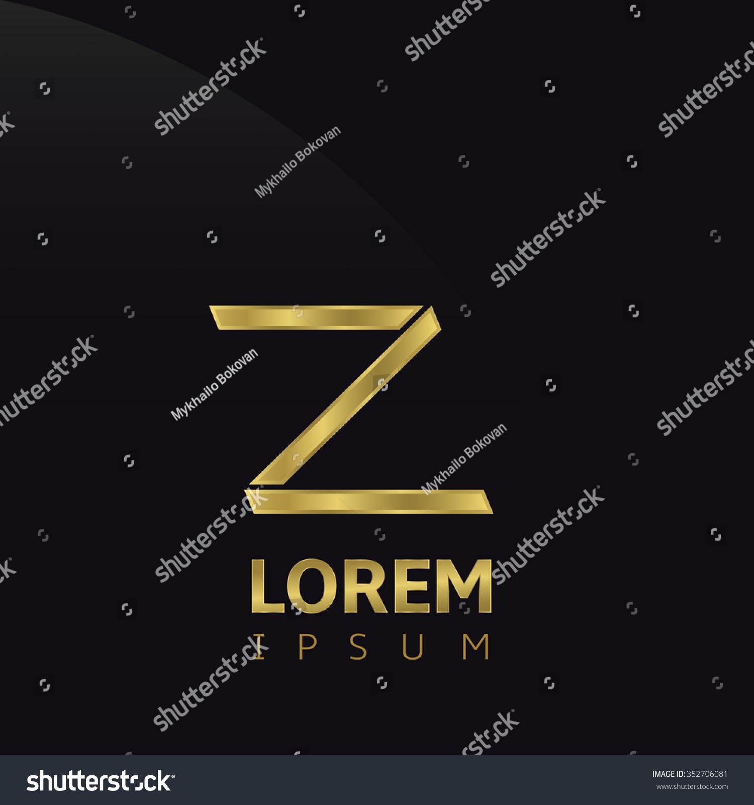 Golden Letter Z Logo Icon Symbol Stock Illustration 352706081