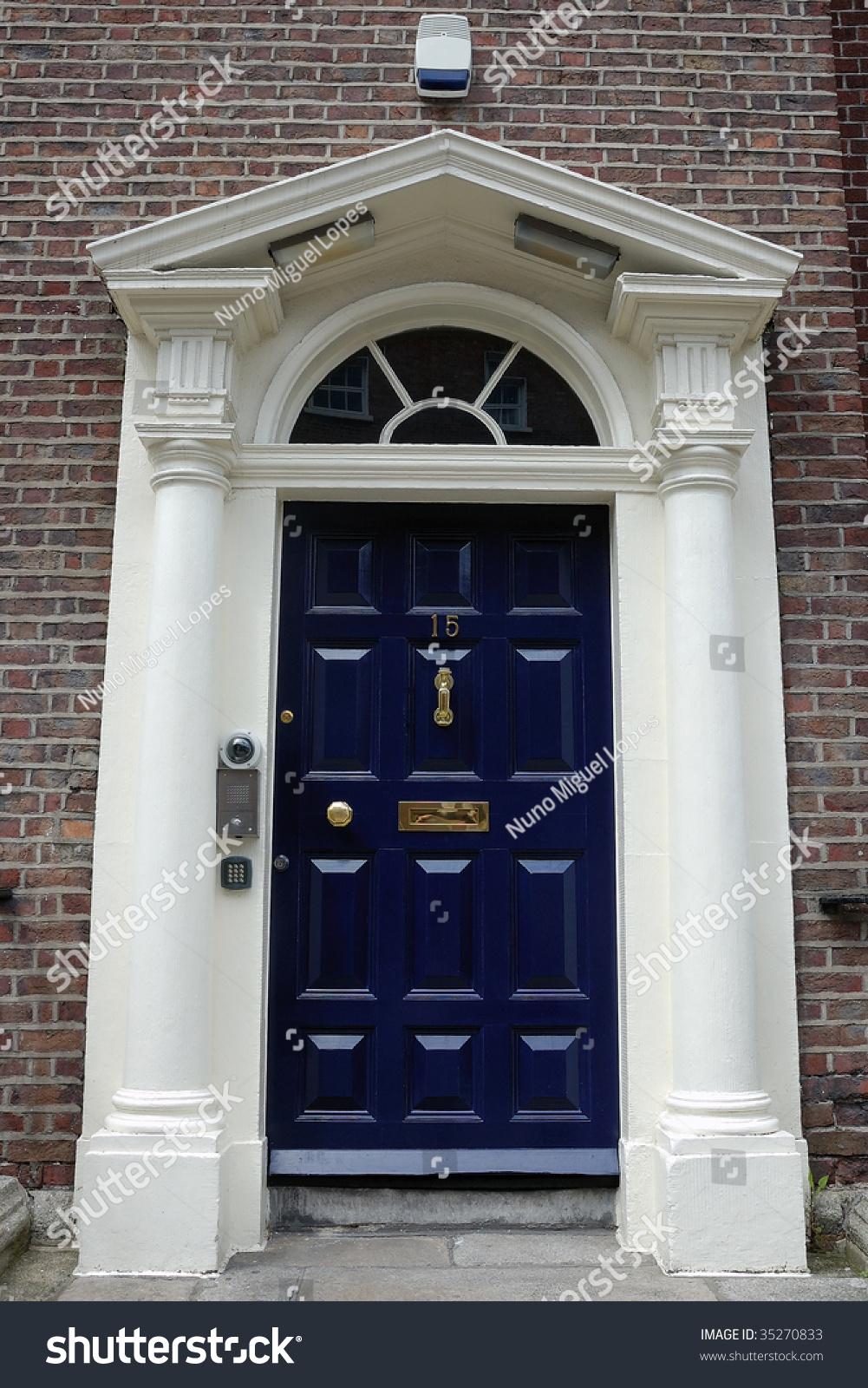Dark Blue Front Door In Urban Street Stock Photo 35270833