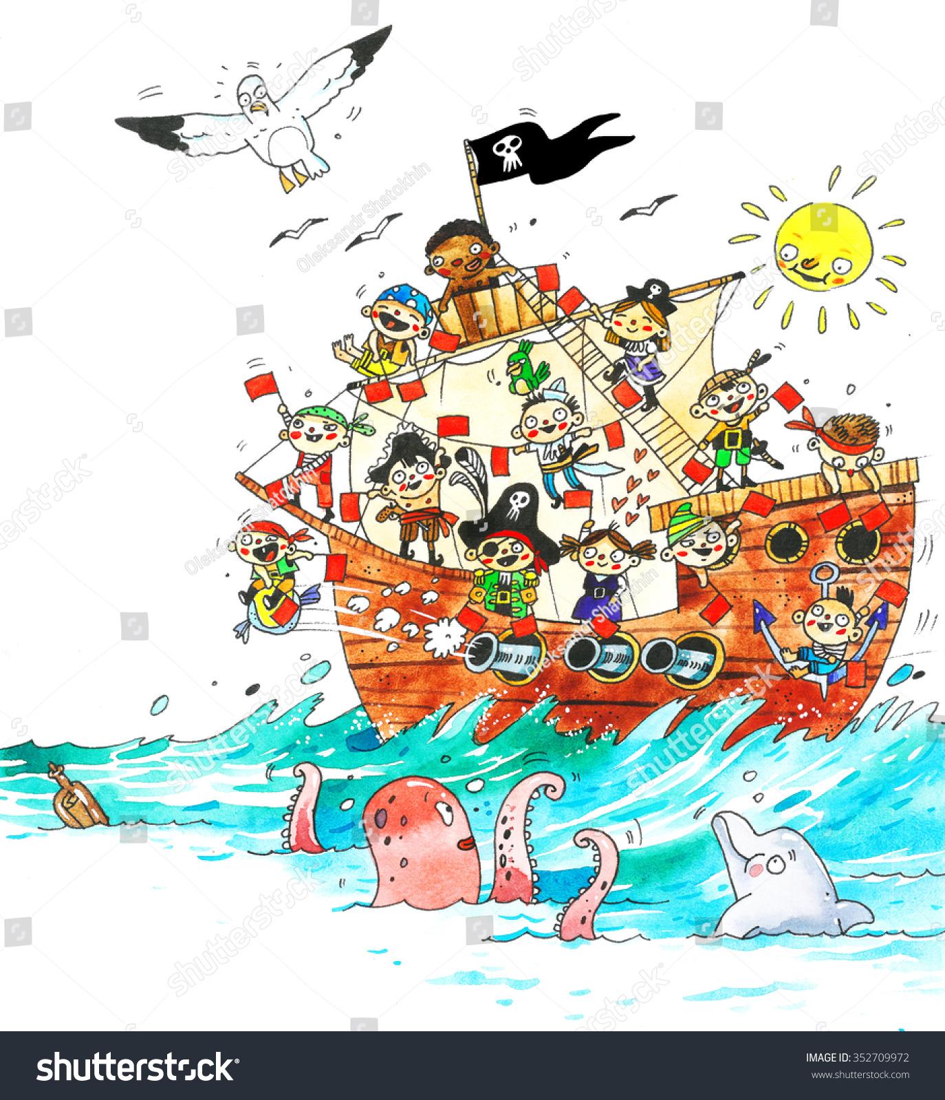 Watercolor Pirate Ship Children Pirates Cartoon Stock Illustration 352709972