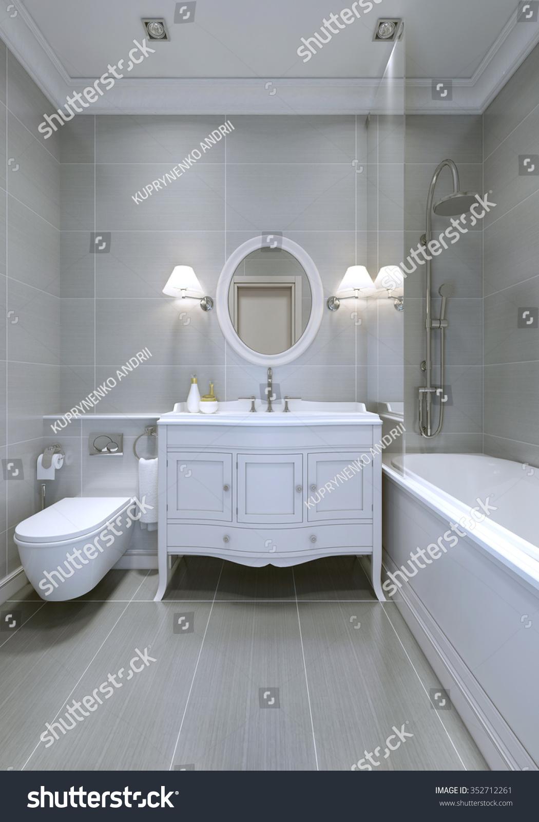 Design Classic Bathroom Light Grey Walls Stock Illustration 352712261