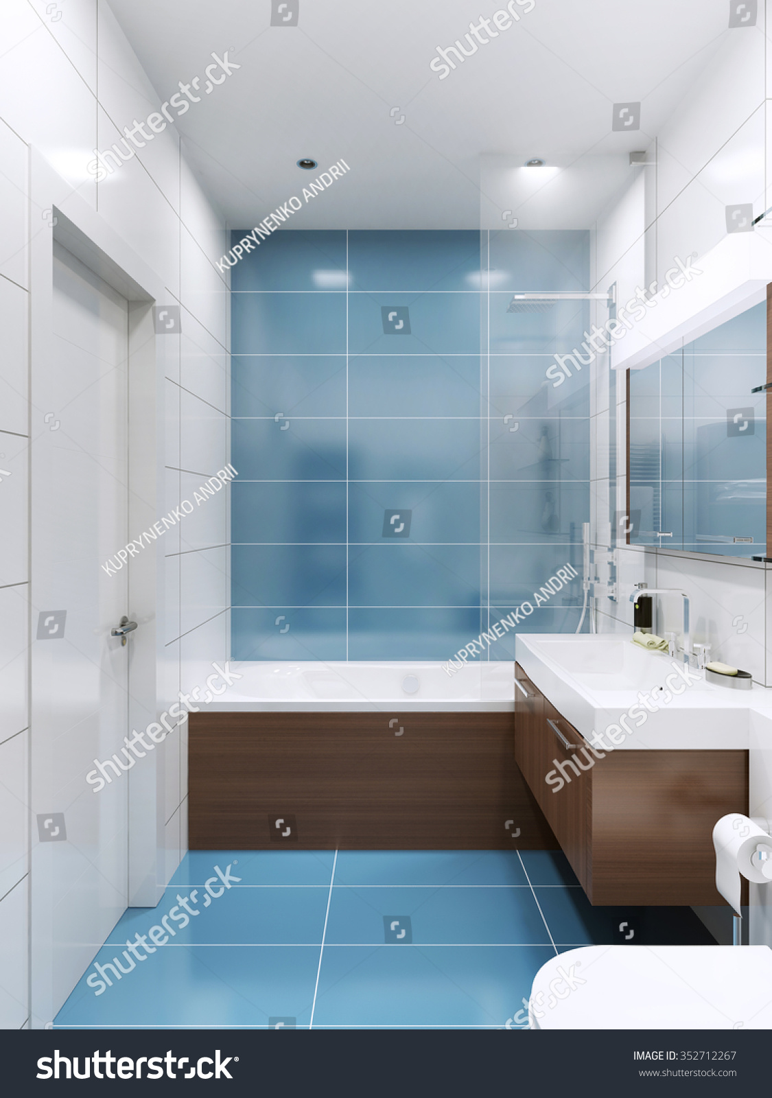 Blue White Bathroom Brown Wooden Futnirute Stock Illustration ...
