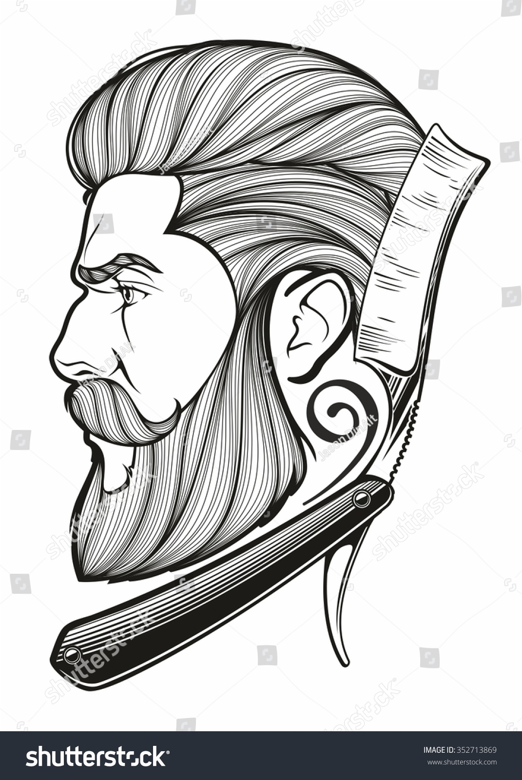 Vintage Hand Drawn Logo Barber Shop Stock Vector 352713869