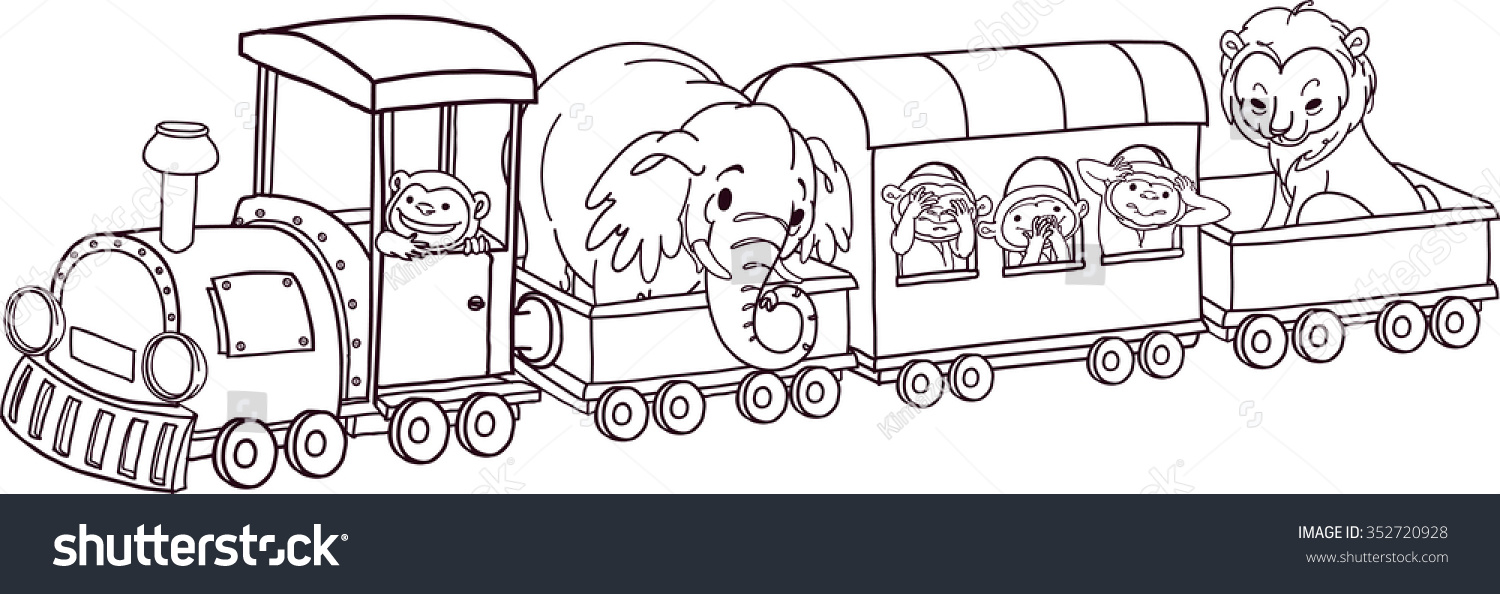 Safari Animals On Train. Vector Outline For Colouring