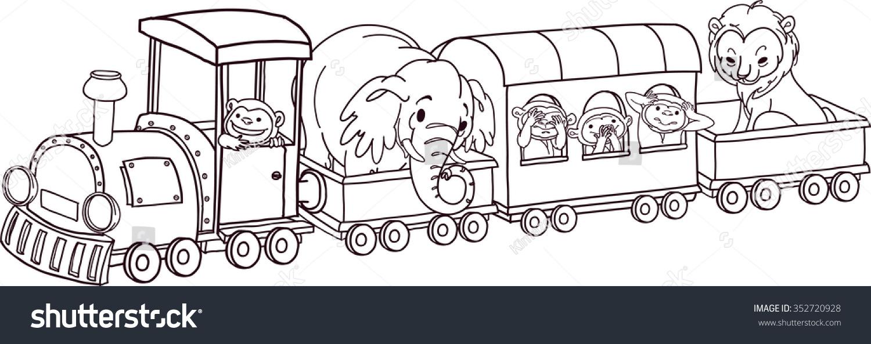 Safari Animals On Train Vector Outline Stock Vector