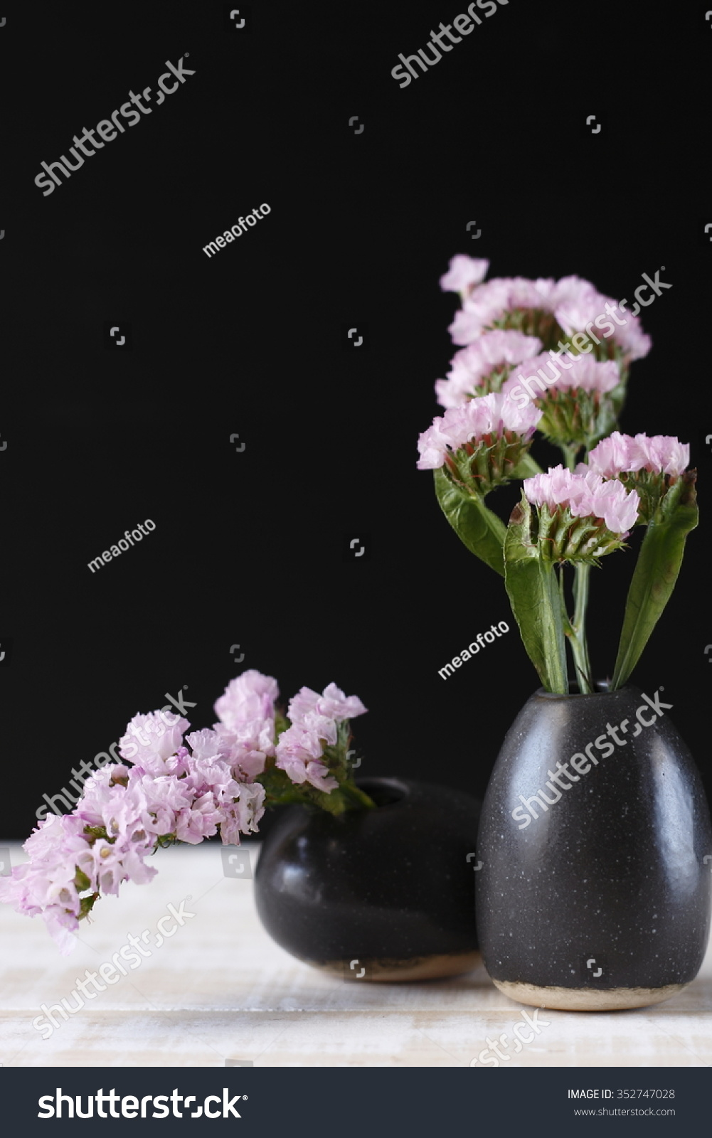 Royalty Free Pink Statice Flower In Black Vase On 352747028 Stock