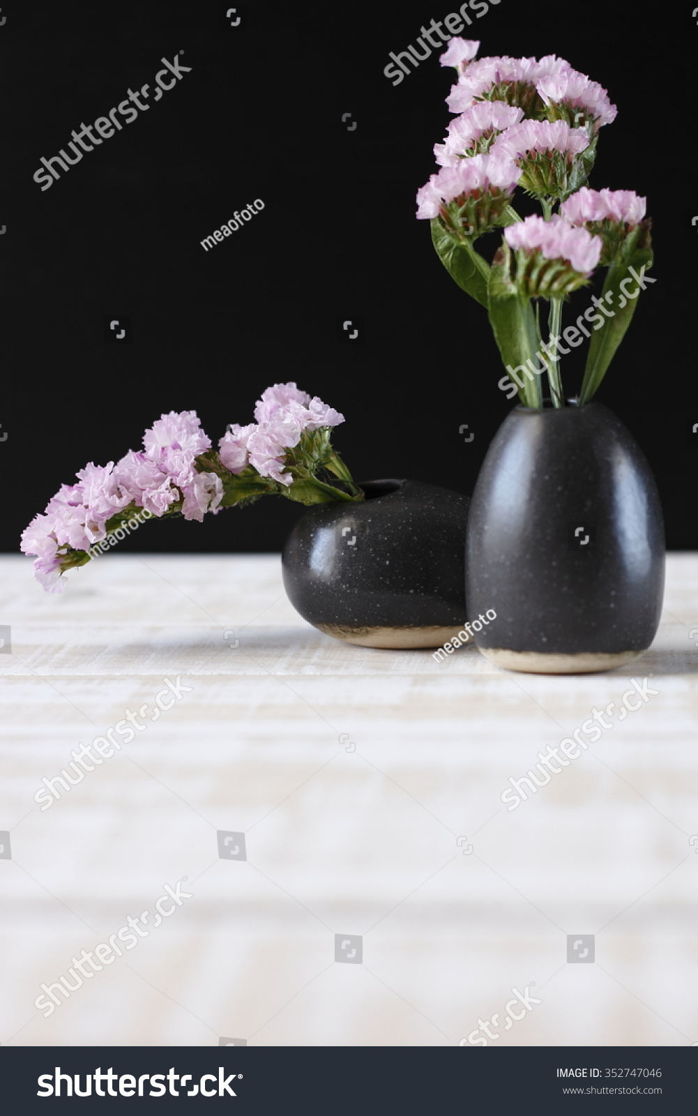 Royalty Free Pink Statice Flower In Black Vase On 352747046 Stock