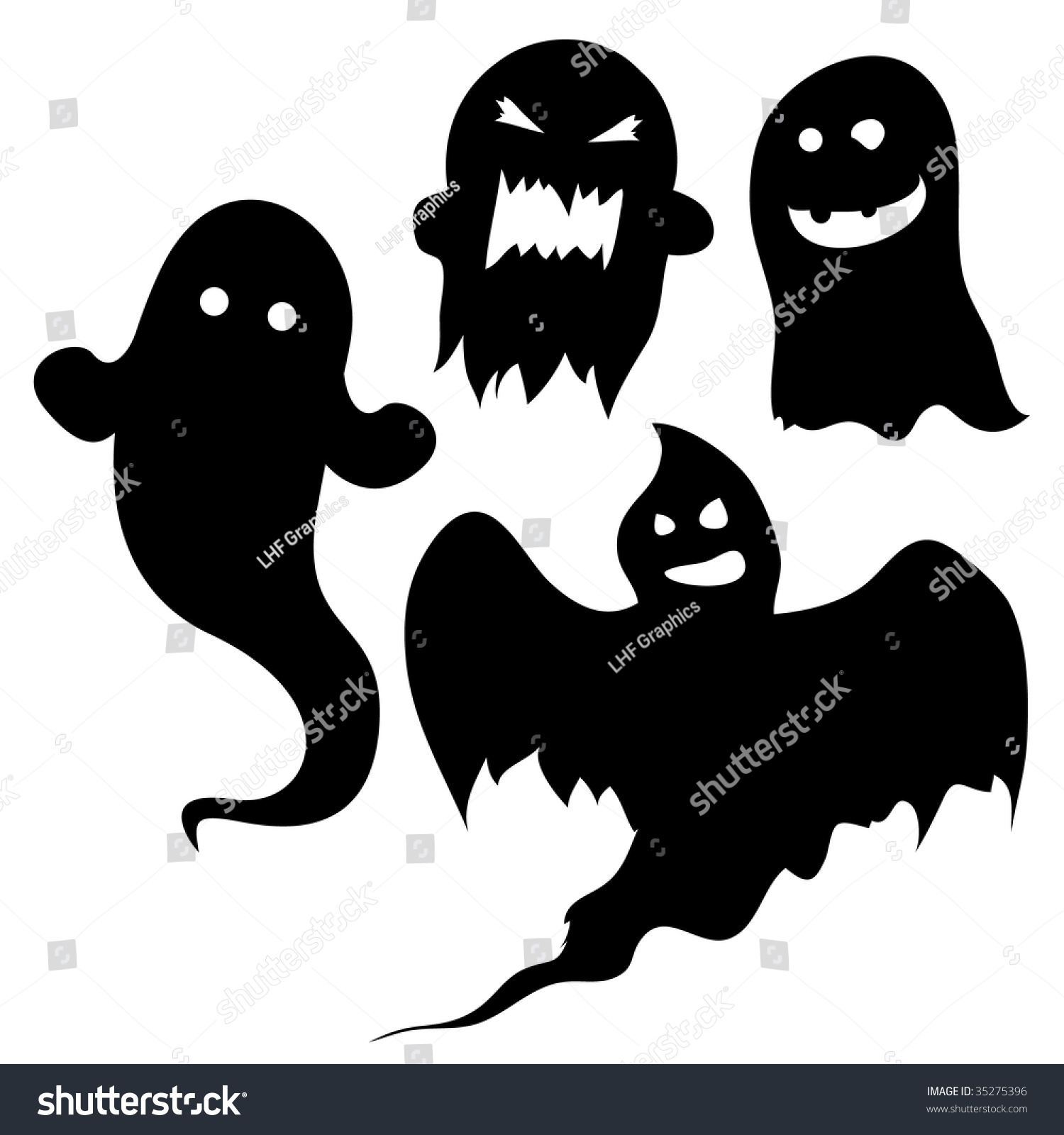 Set Ghost Silhouettes Halloween Spooky Designs Stock Vector ...