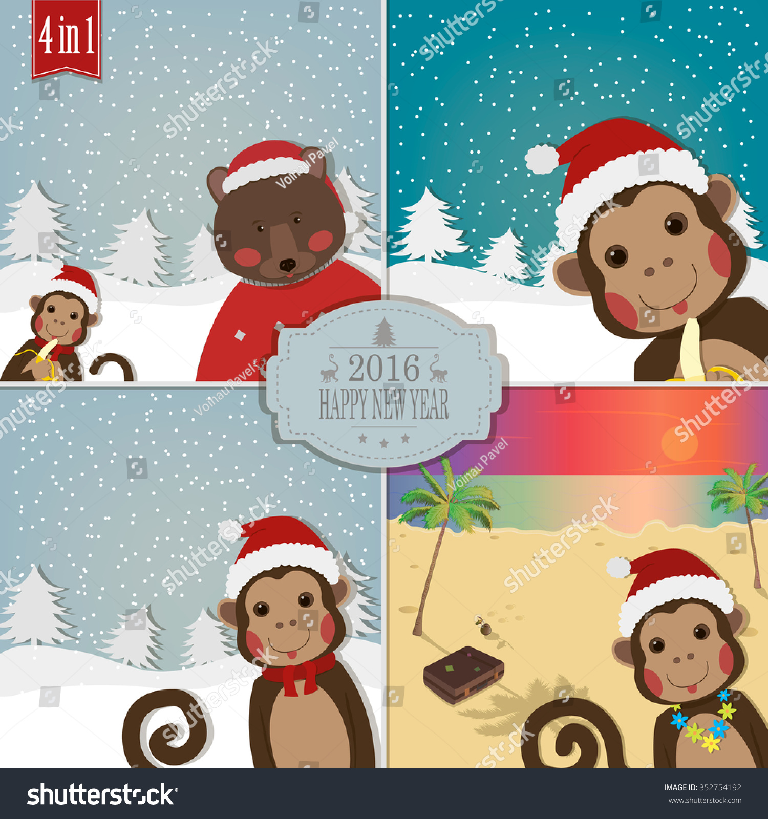 Monkey With Friends Bear And Santa Greeting For New Year And