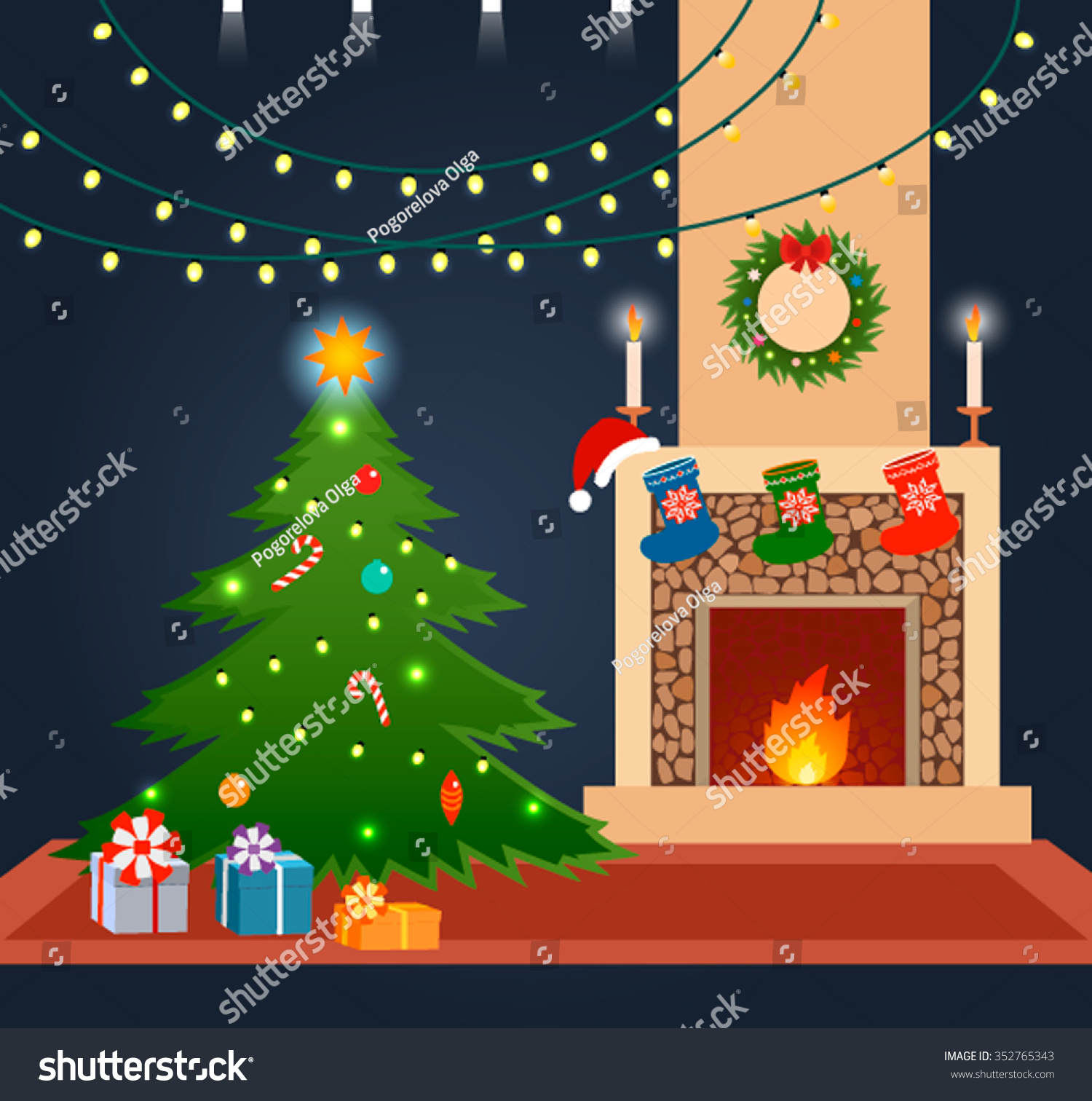 christmas tree by fireplace decorated holidays stock vector