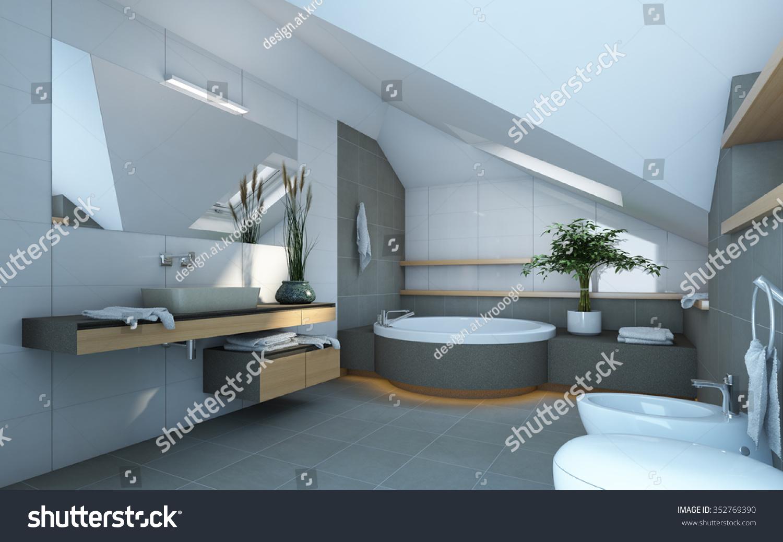 Bathroom Grey White Colors 3 D Rendering Stock Illustration ...
