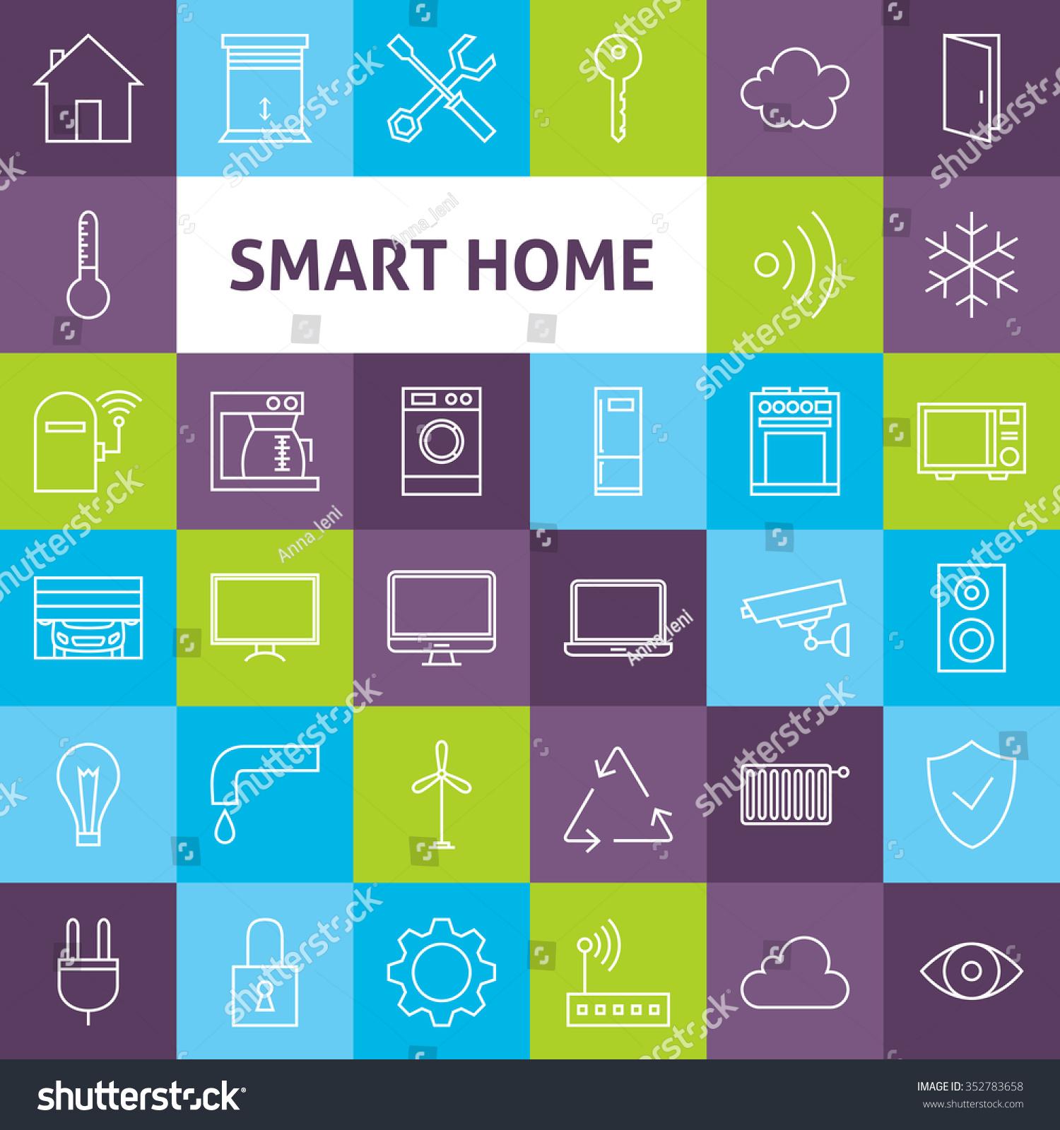 line art smart home icons set vector set of house. Black Bedroom Furniture Sets. Home Design Ideas