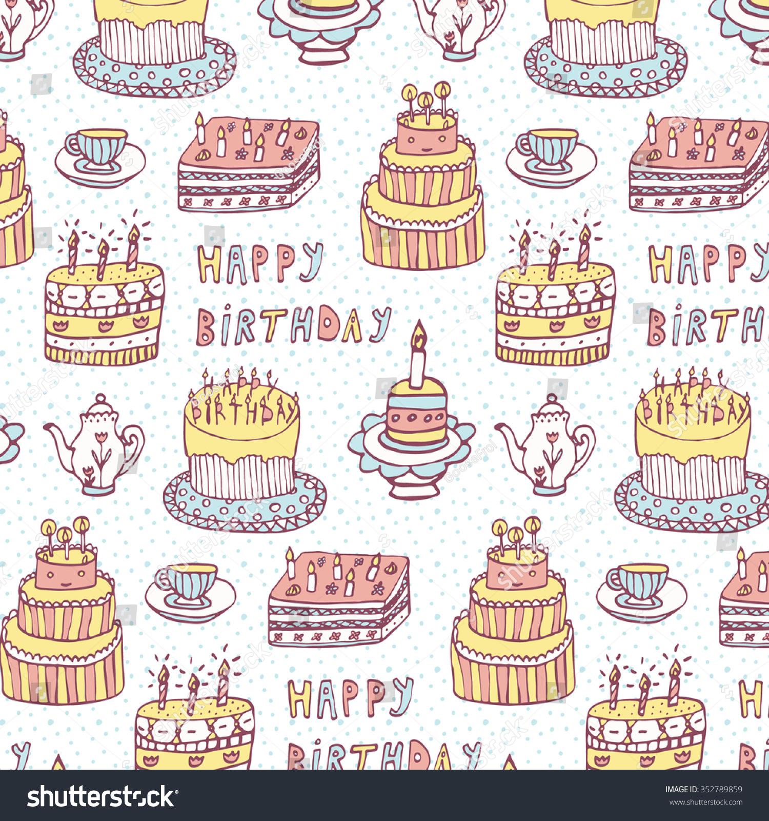 Birthday Cakes Pattern Stock Vector 2018 352789859 Shutterstock