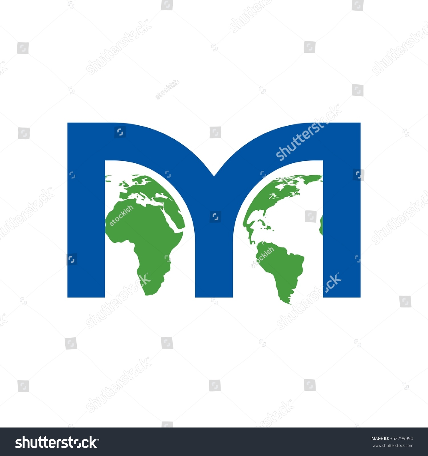 M logo vector map world letter stock vector 352799990 shutterstock m logo vector map of world in the letter m gumiabroncs Images