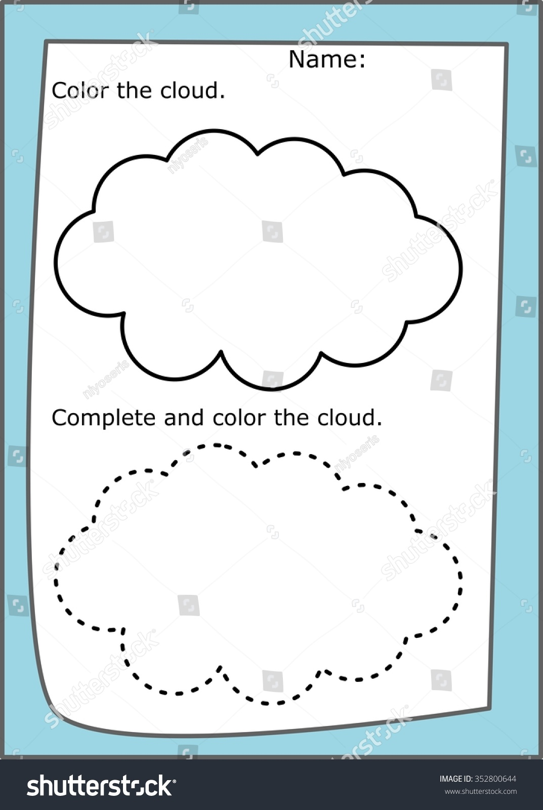 worksheet Cloud Worksheet cloud coloring worksheet dotted lines stock illustration 352800644 and lines