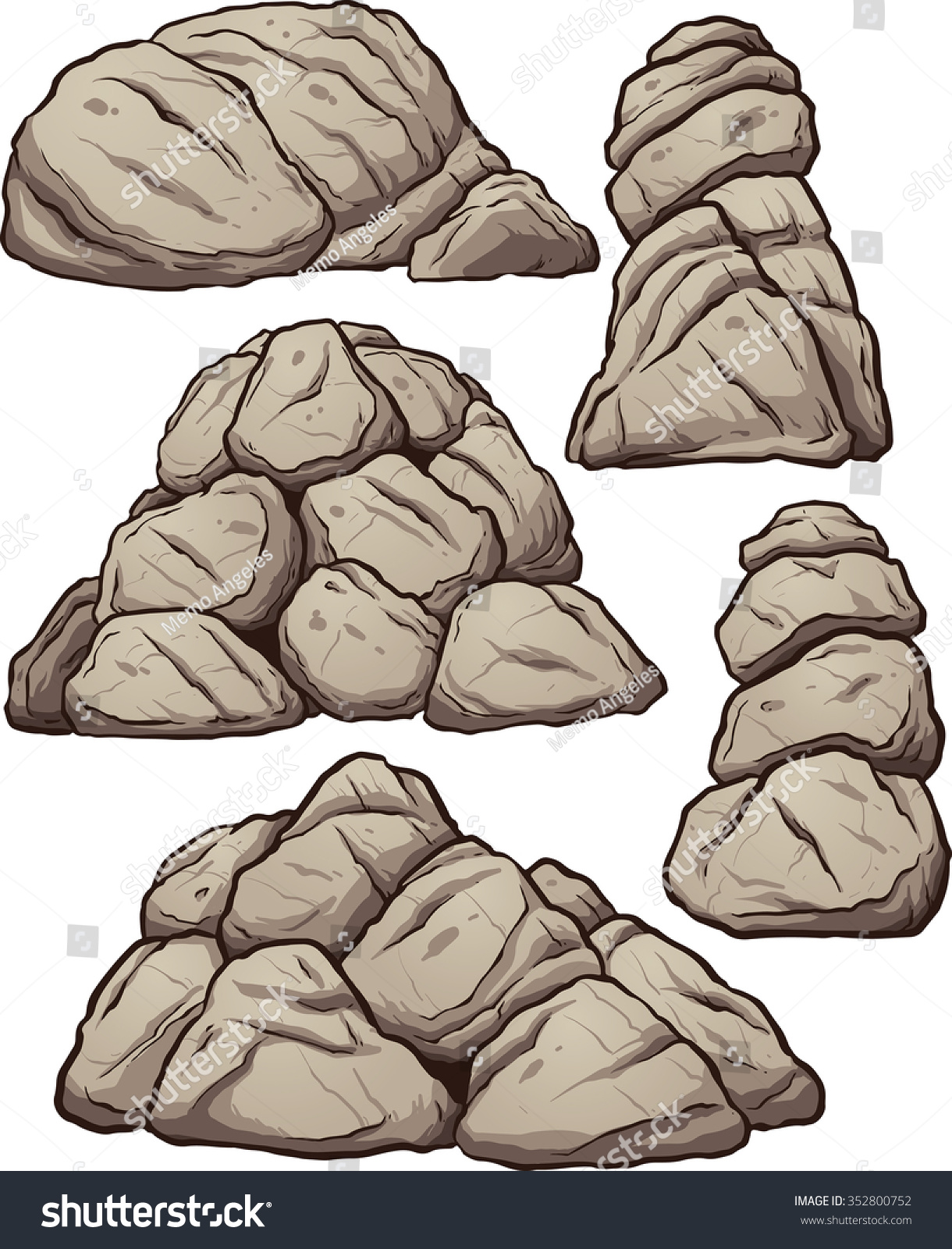Clip Art Rocks Clipart piles rocks vector clip art illustration stock 352800752 of with simple gradients each pile on a