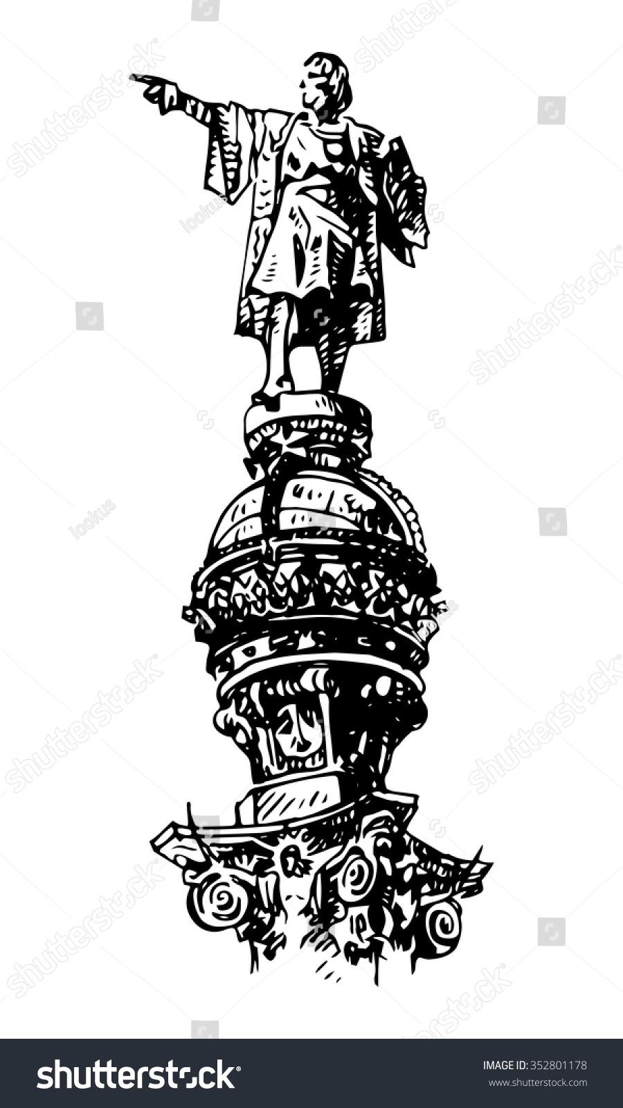 statue christopher columbus barcelona catalonia spain stock vector