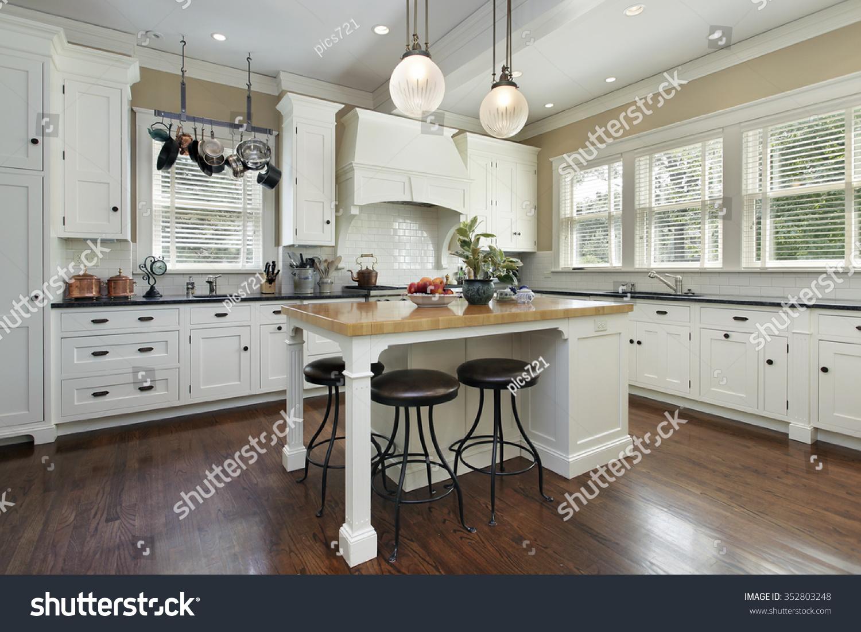 Kitchen White Cabinetry Center Island Stock Photo