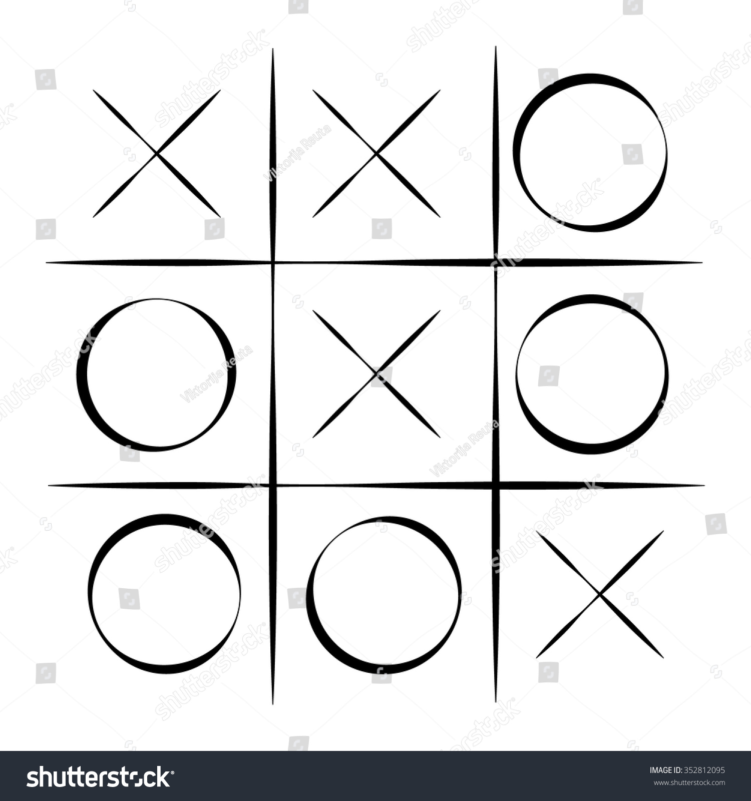 Vector Illustration Tic Tac Toe Simple Stock Vector 352812095 ...