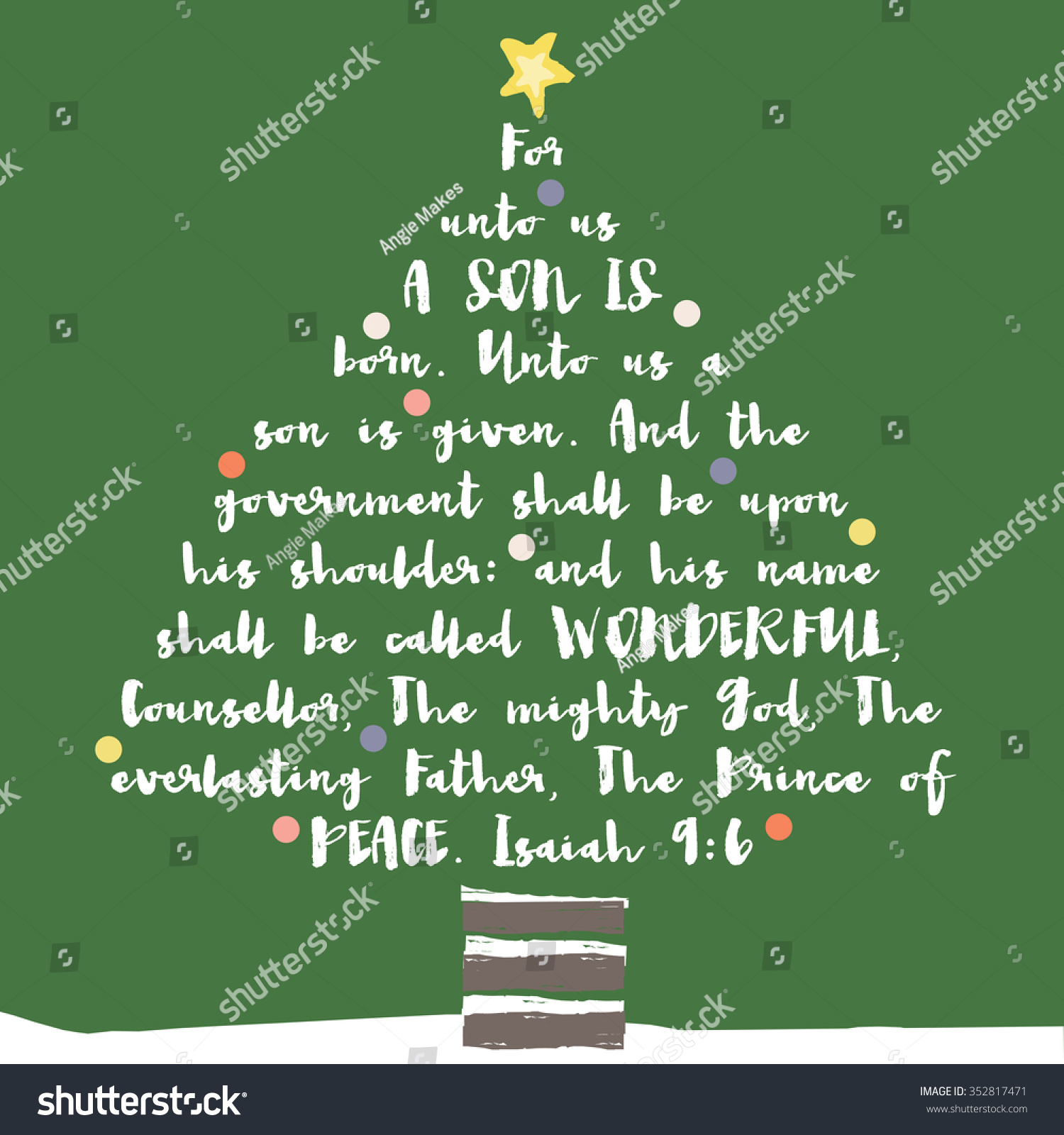 Christian Christmas Greetings.Christmas Tree Typography Bible Verse Christian Stock