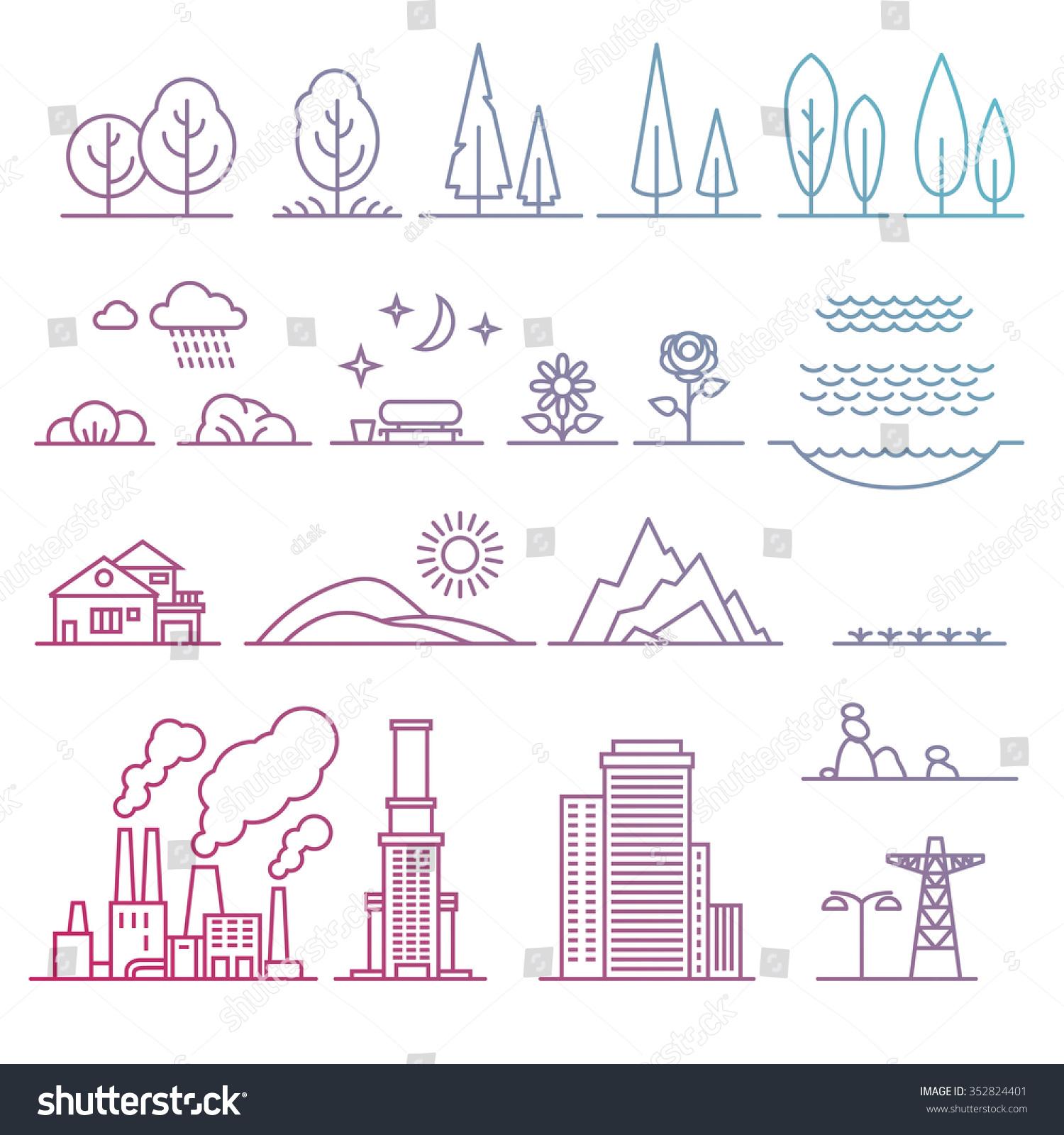 Landscape design elements stock vector illustration for Garden design elements