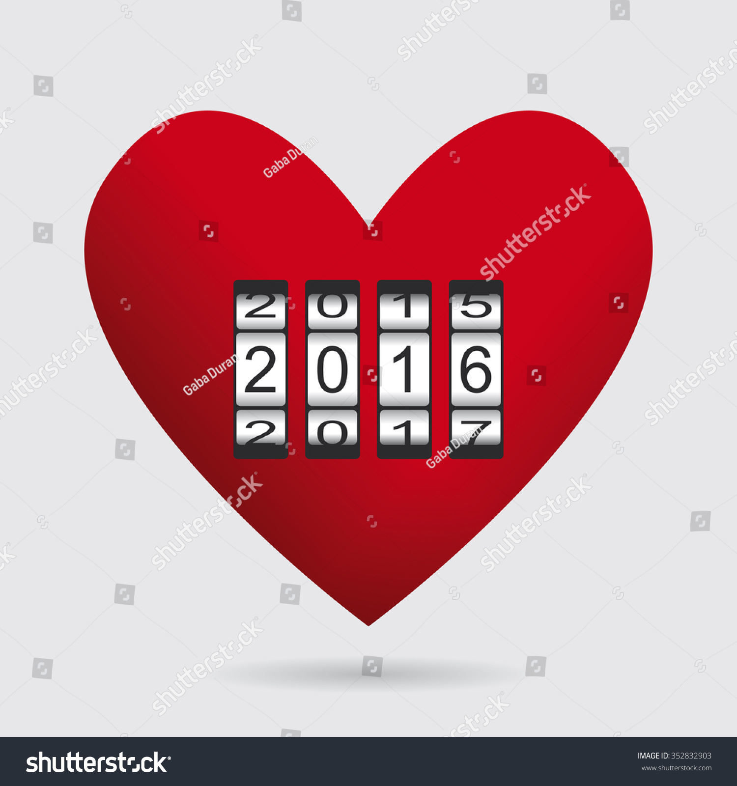 Heart Love Counter Happy New Year Stock Vector (Royalty Free ...