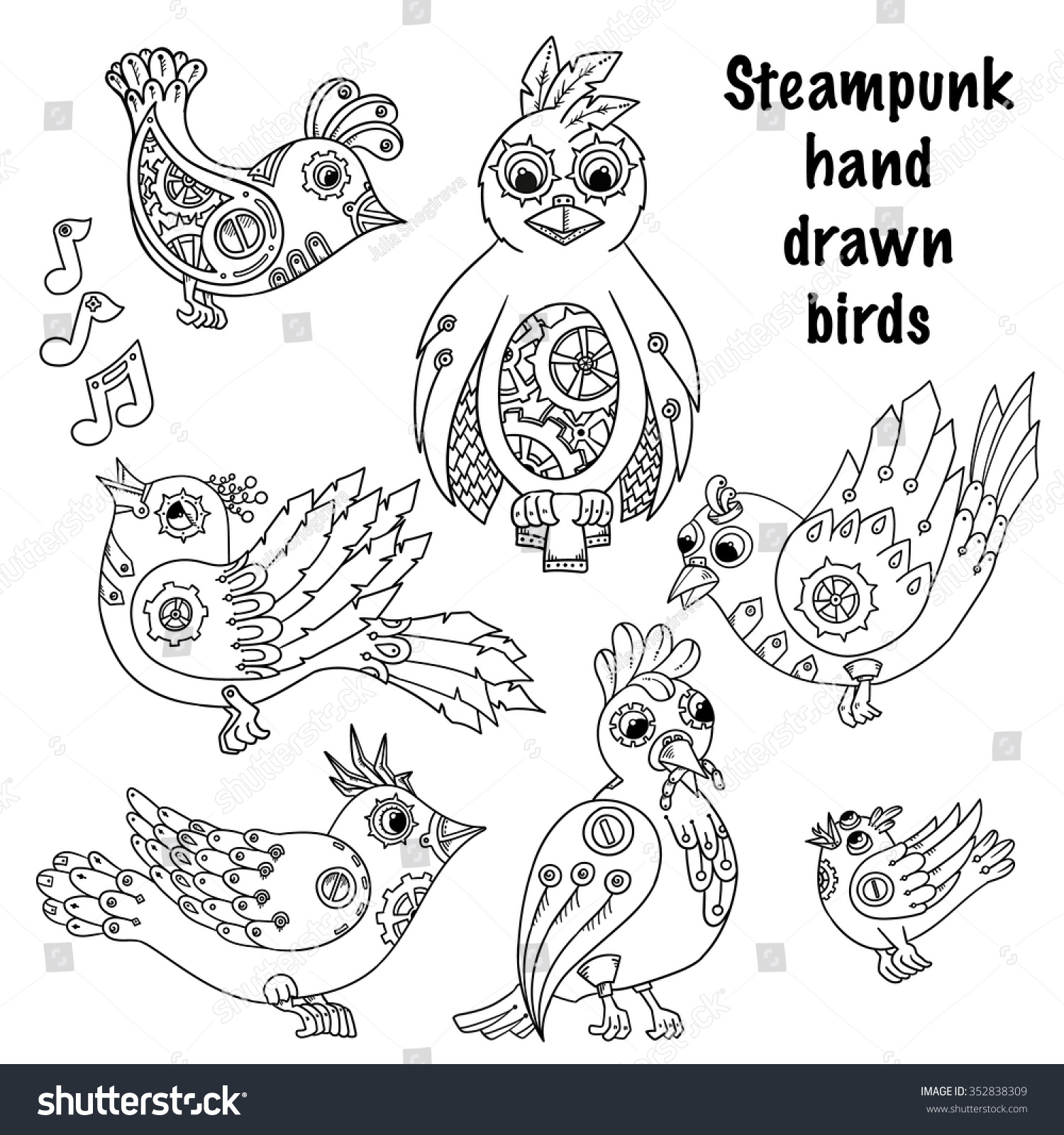 Doodle Steampunk Birds Background In Vector Ethnic Pattern Can Be Used For Wallpaper