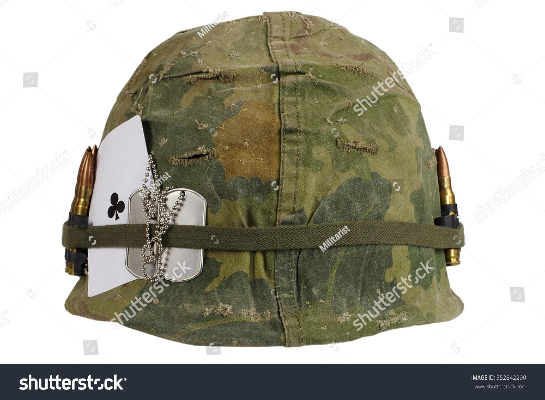 bb3e4565 US Army helmet Vietnam war period with… Stock Photo 352842290 ...