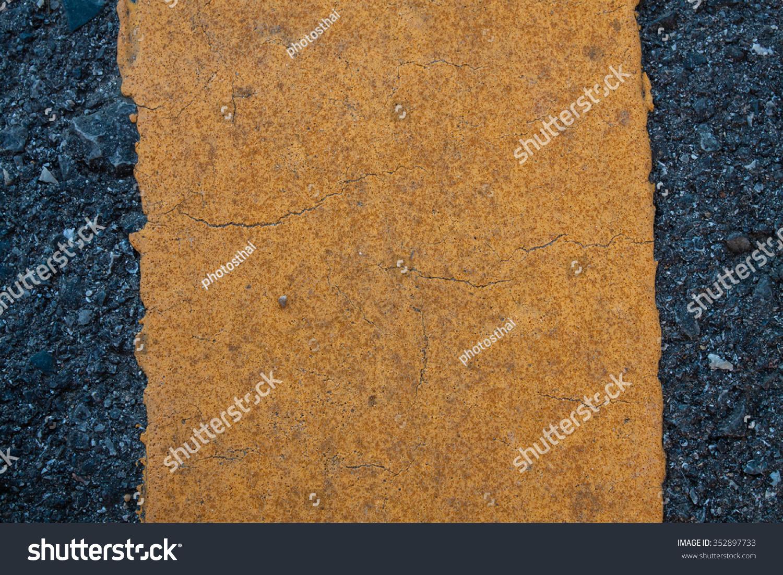 Asphaltic Road Concrete Yellow Reflective Paint Stock Image