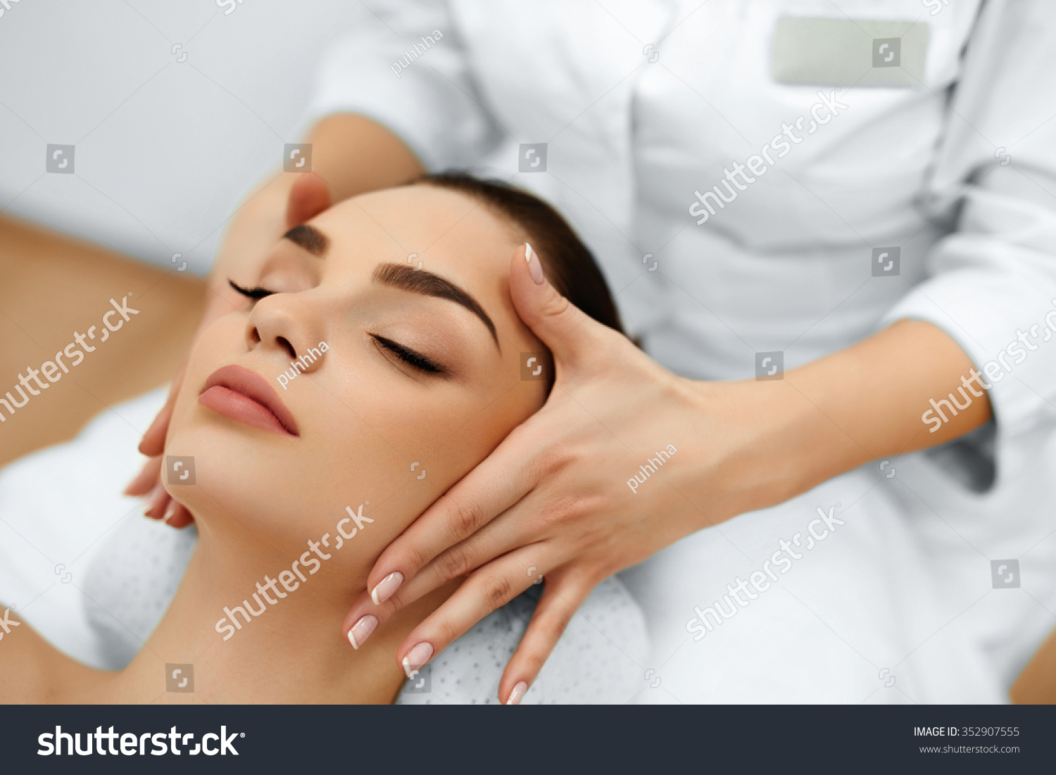 Skin and body care close up of a young woman getting spa for A trial beauty treatment salon