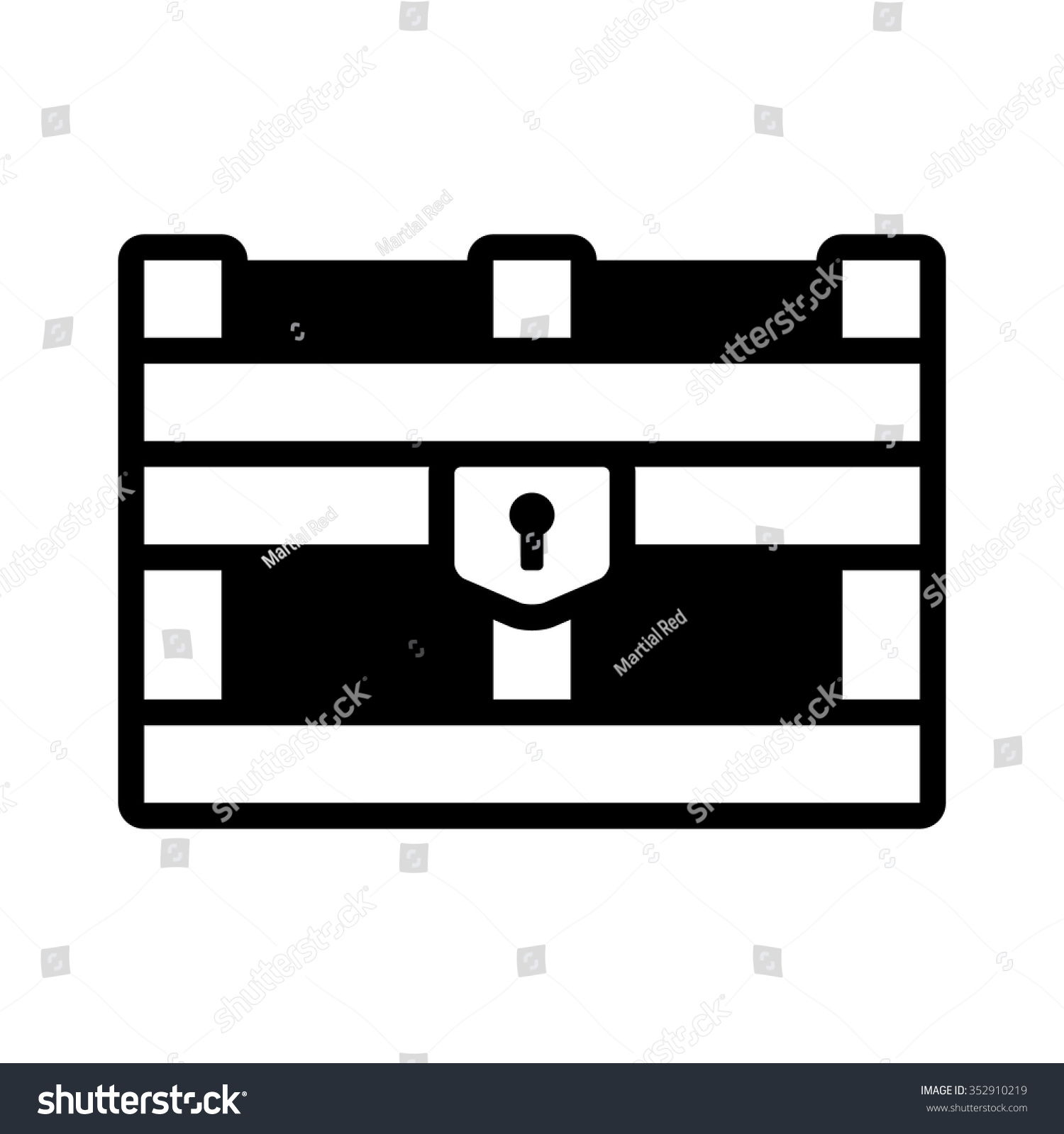 Treasure Chest Storage Box Flat Icon Stock Vector ...