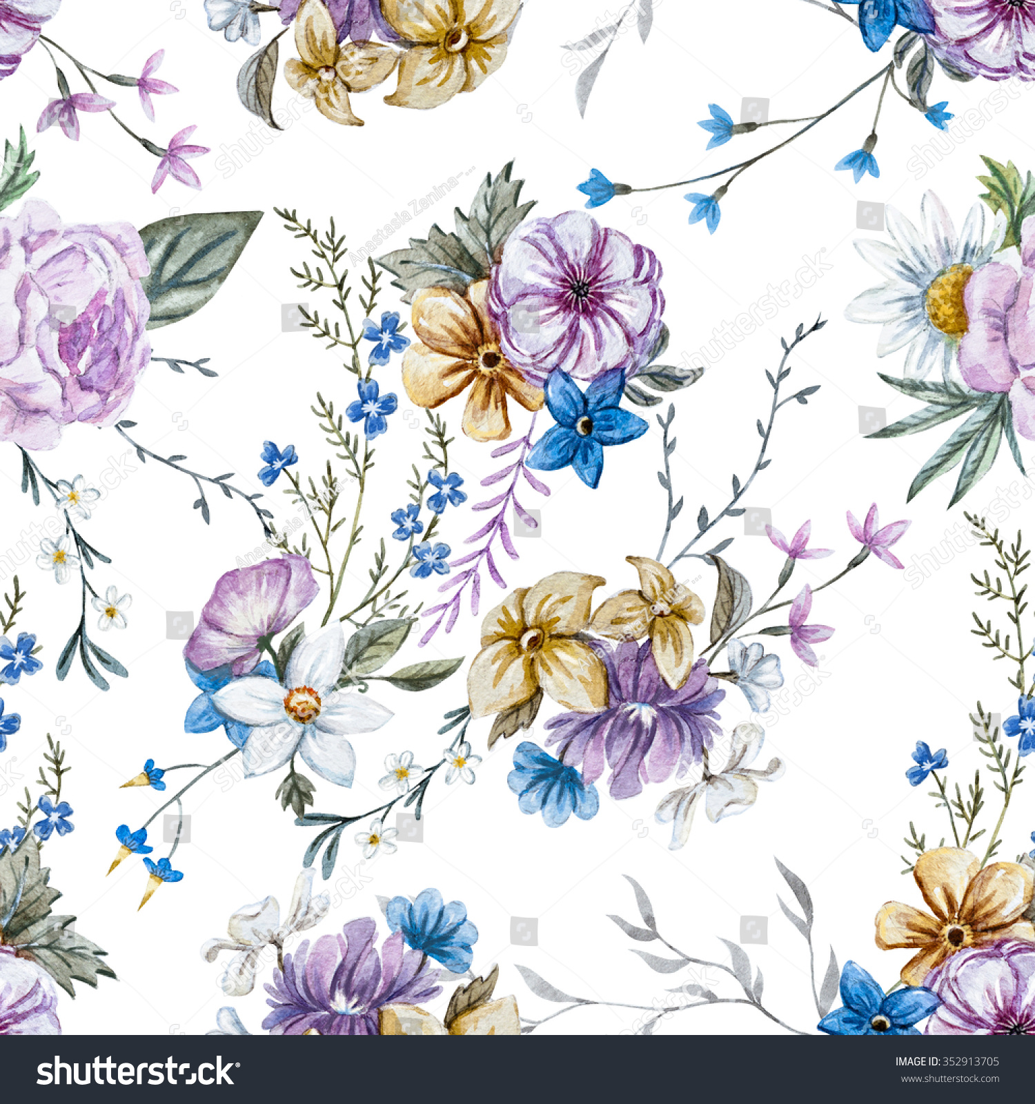 Watercolor Flowers Seamless Pattern Vintage English Stock