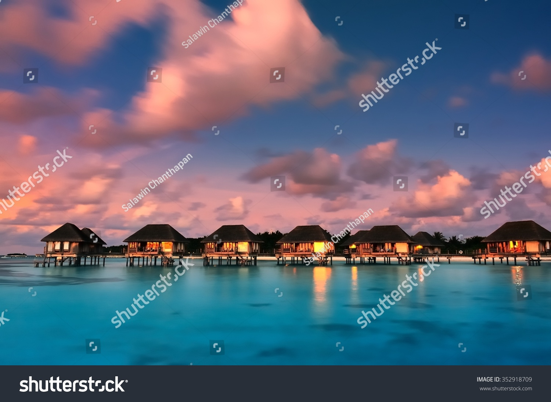 Water Bungalows Beautiful Twilight Sky Sea Stock Photo 352918709 ...