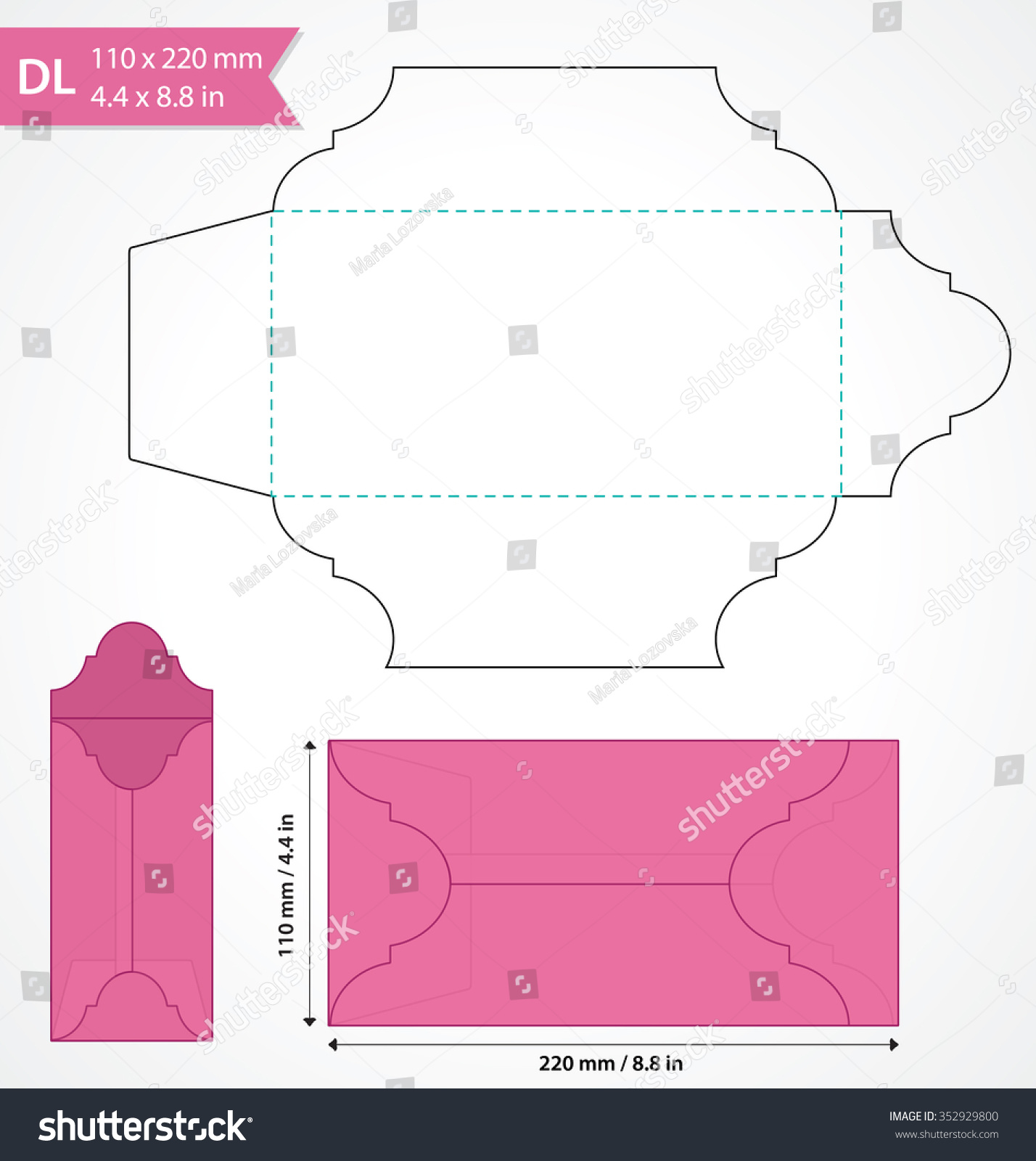 Die Cut Vector Envelope Template Standard Stock Vector