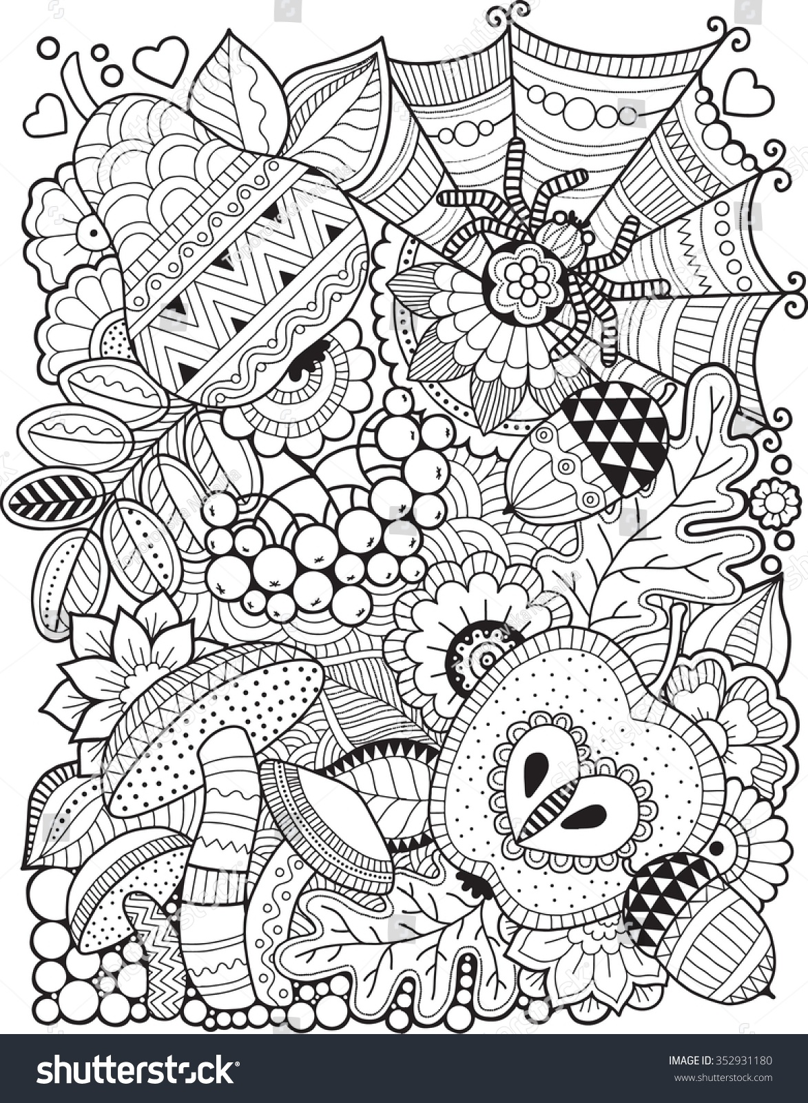 Hello Autumn. Coloring Book For Adult Stock Vector ...
