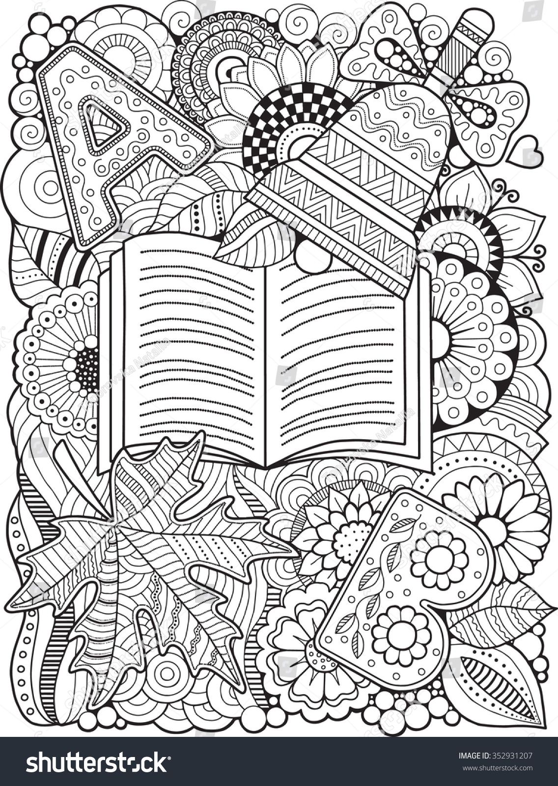 Back School Coloring Book Adult Stock Vector 352931207