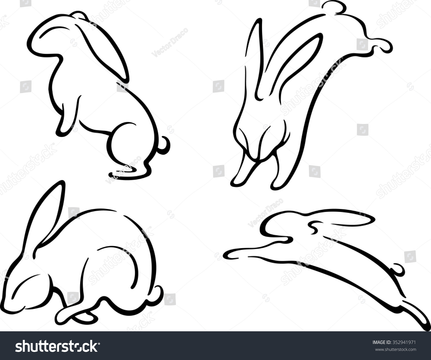 Line Art Rabbit : Related keywords suggestions for leaping rabbit